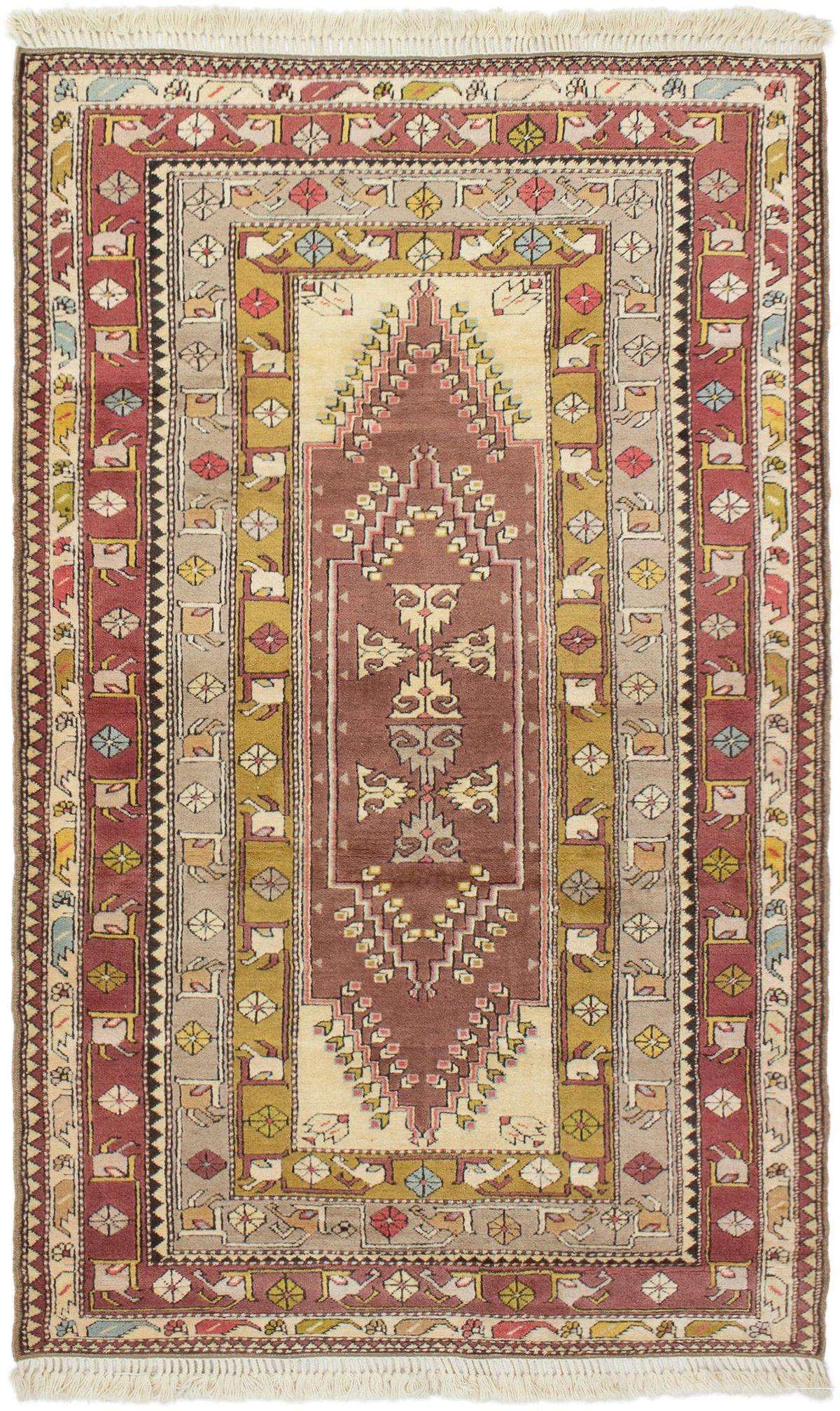 "Hand-knotted Antique Shiravan Dark Burgundy, Light Grey Wool Rug 4'6"" x 7'8"" Size: 4'6"" x 7'8"""