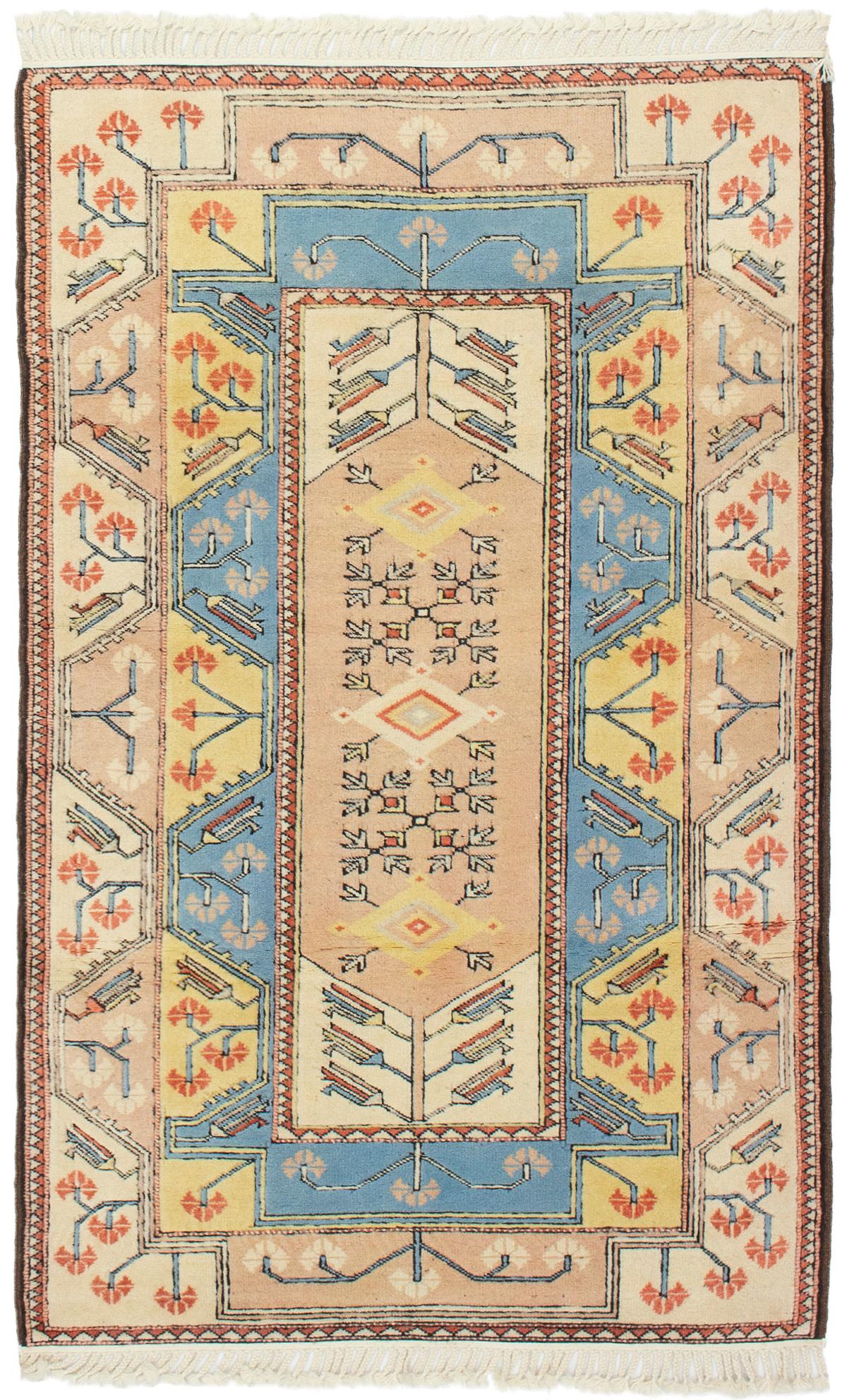 "Hand-knotted Ushak Sky Blue, Tan Wool Rug 4'0"" x 6'4"" Size: 4'0"" x 6'4"""