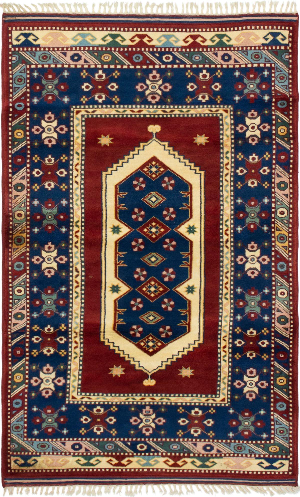 """Hand-knotted Antique Shiravan Dark Blue, Dark Red Wool Rug 3'9"""" x 6'2"""" Size: 3'9"""" x 6'2"""""""