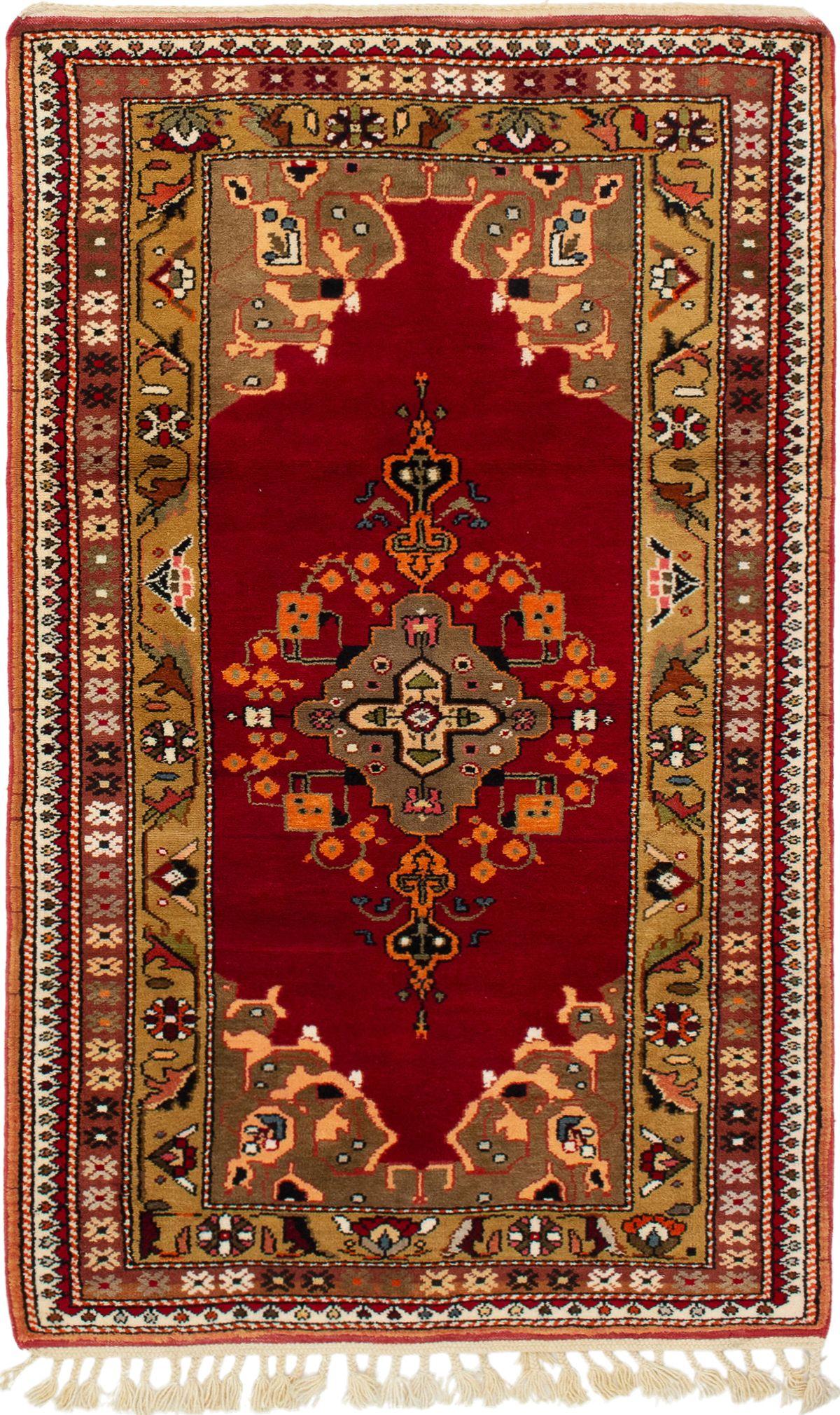 "Hand-knotted Hereke Dark Red Wool Rug 4'0"" x 6'9"" Size: 4'0"" x 6'9"""