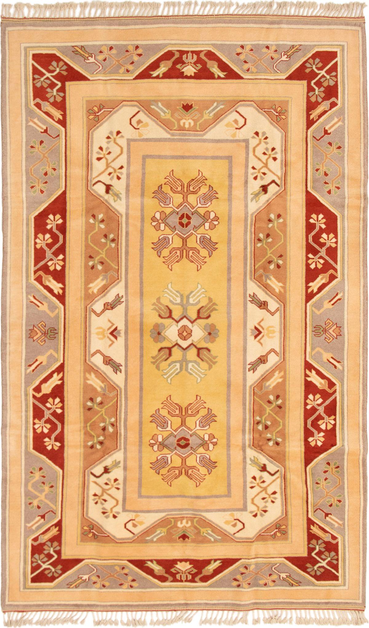 """Hand-knotted Ushak Beige, Dark Red Wool Rug 6'4"""" x 10'2"""" Size: 6'4"""" x 10'2"""""""