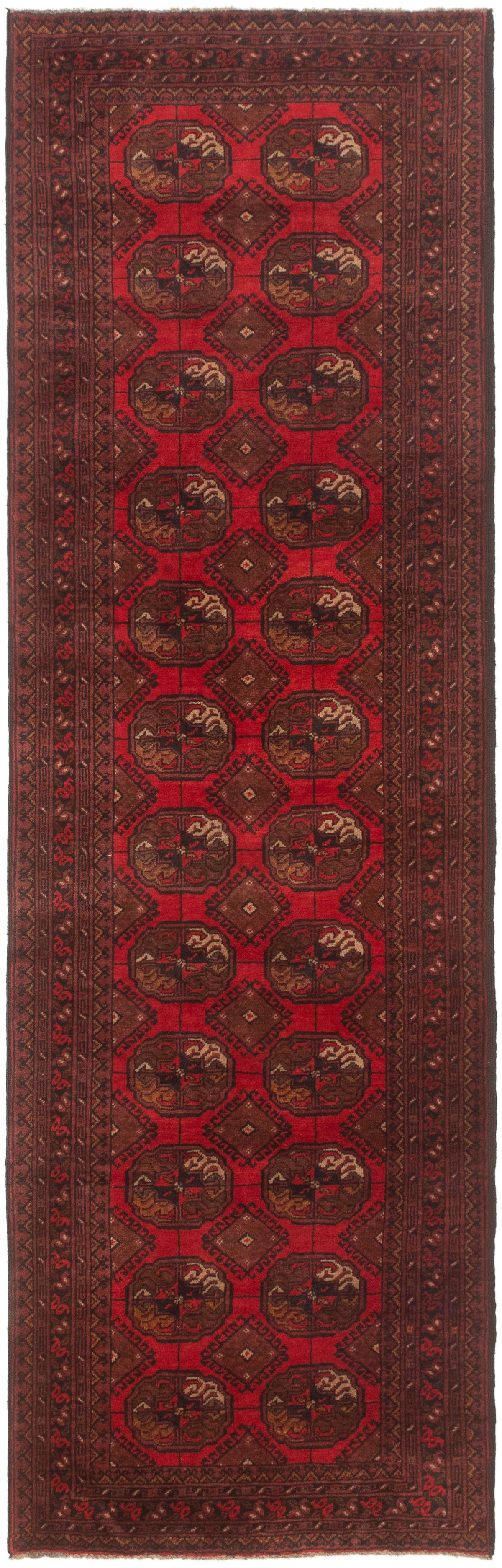 """Hand-knotted Teimani Red Wool Rug 2'8"""" x 8'11"""" Size: 2'8"""" x 8'11"""""""