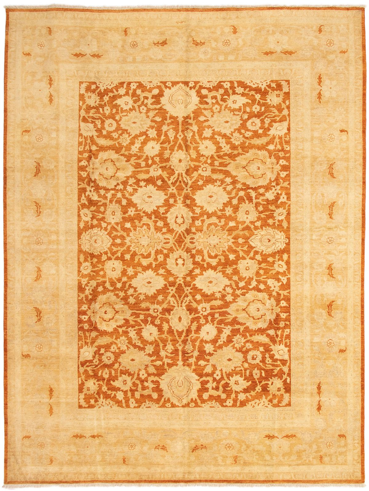 "Hand-knotted Chobi Finest Burnt Orange Wool Rug 9'0"" x 11'10"" Size: 9'0"" x 11'10"""