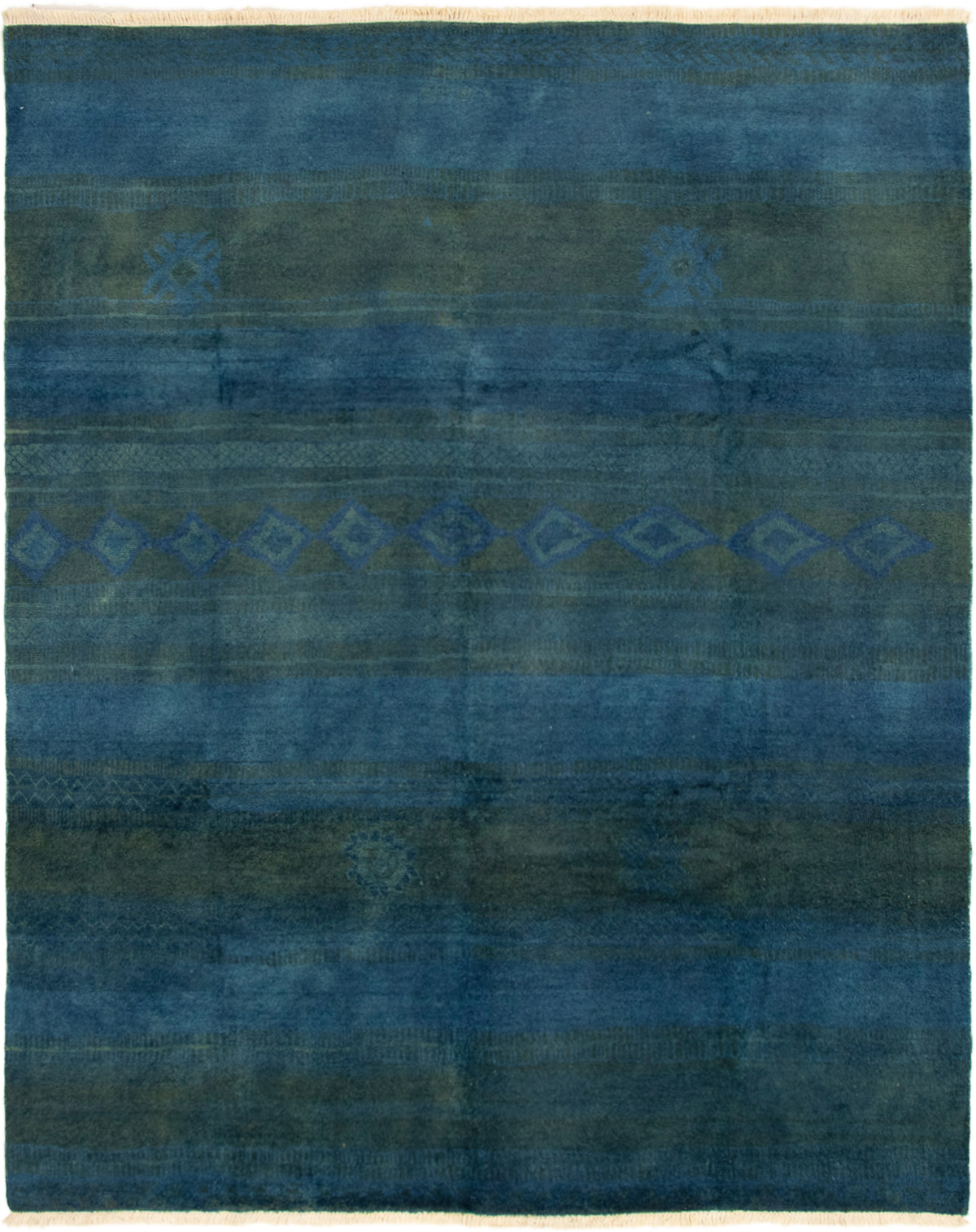 """Hand-knotted Vibrance Dark Blue Wool Rug 7'10"""" x 9'10""""  Size: 7'10"""" x 9'10"""""""