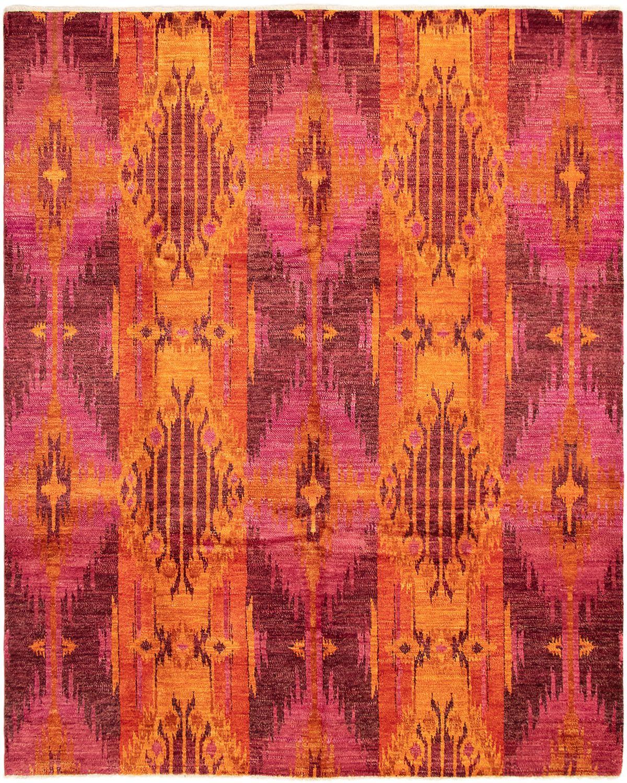 """Hand-knotted Shalimar Dark Pink, Orange Wool Rug 7'10"""" x 10'0"""" Size: 7'10"""" x 10'0"""""""