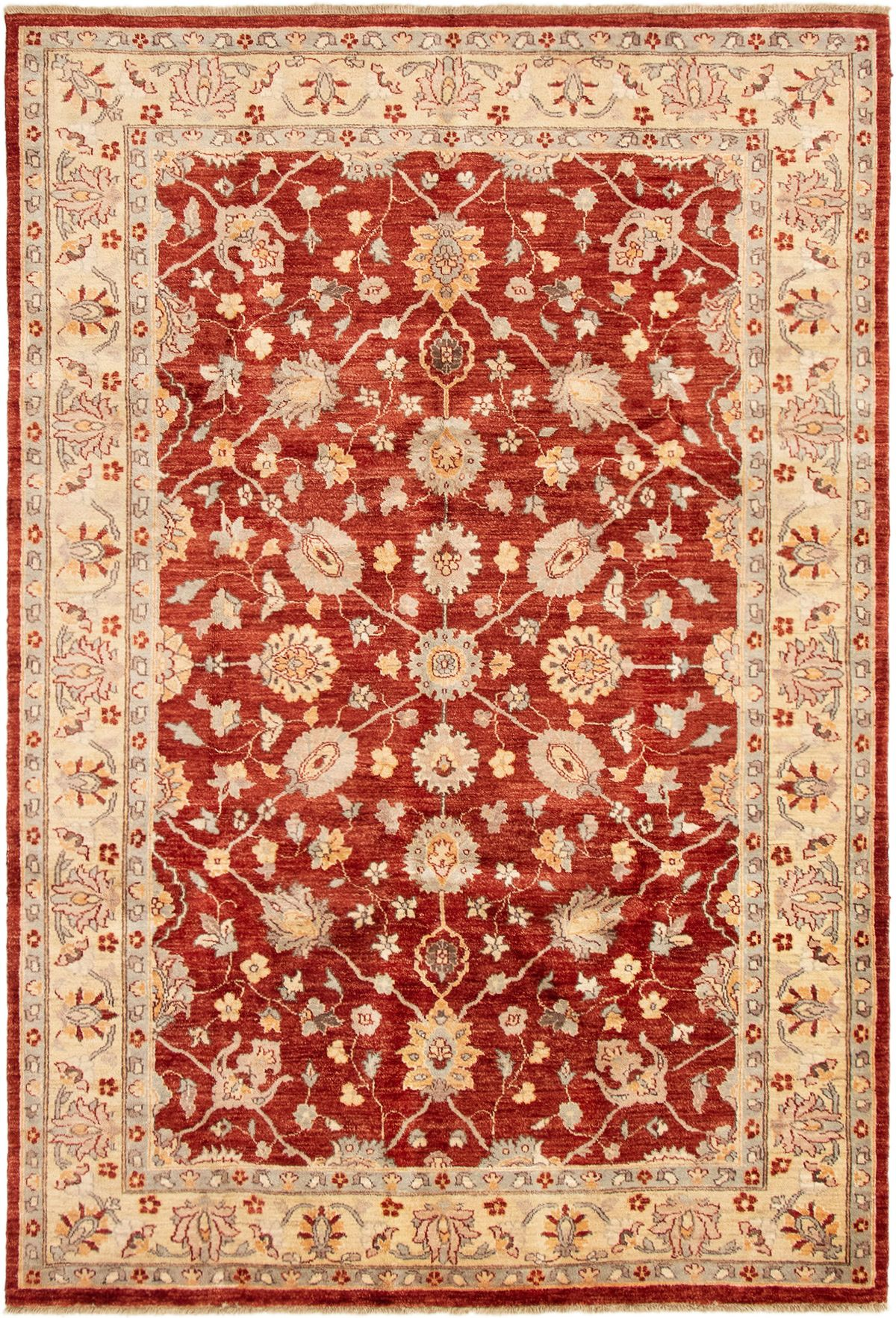 """Hand-knotted Chobi Finest Dark Red Wool Rug 6'3"""" x 9'3"""" Size: 6'3"""" x 9'3"""""""