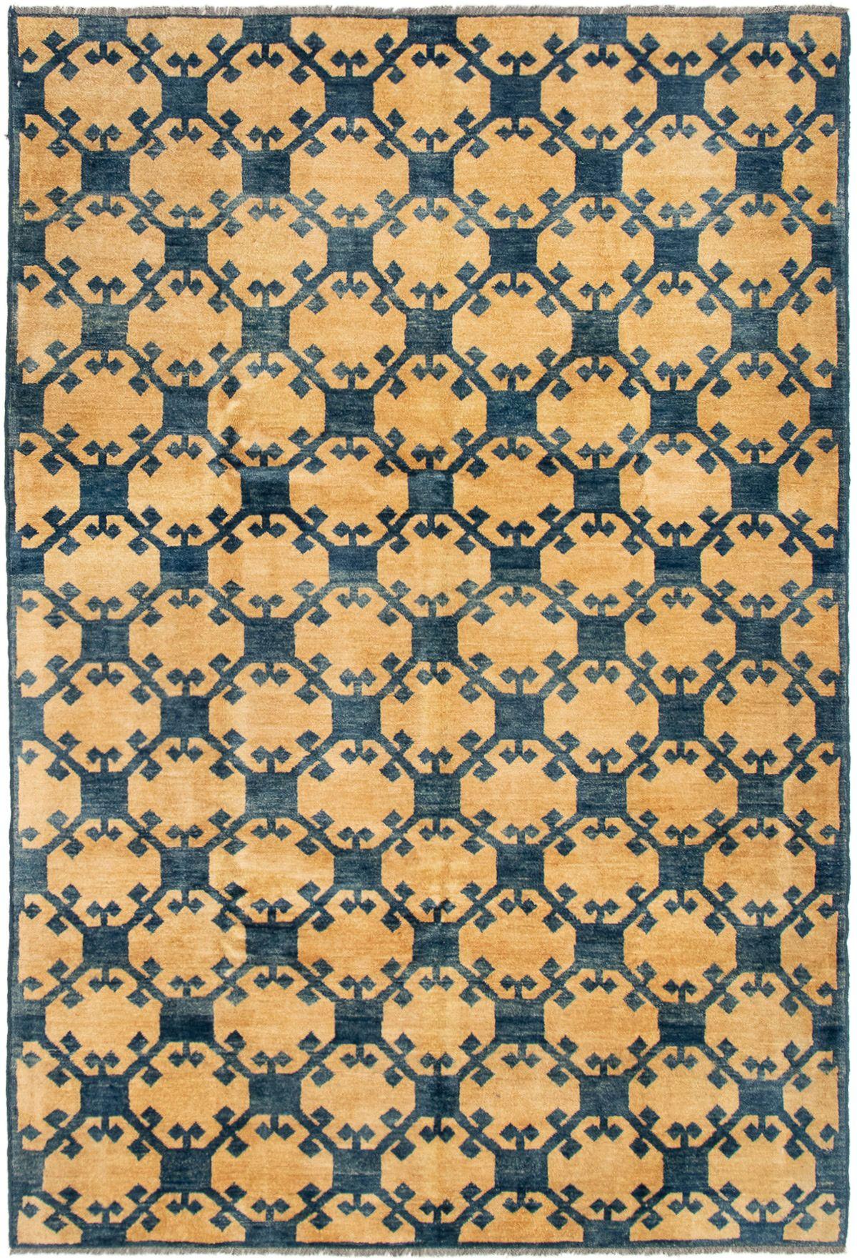 "Hand-knotted Finest Ziegler Chobi Ivory, Navy Blue Wool Rug 5'8"" x 8'5"" Size: 5'8"" x 8'5"""
