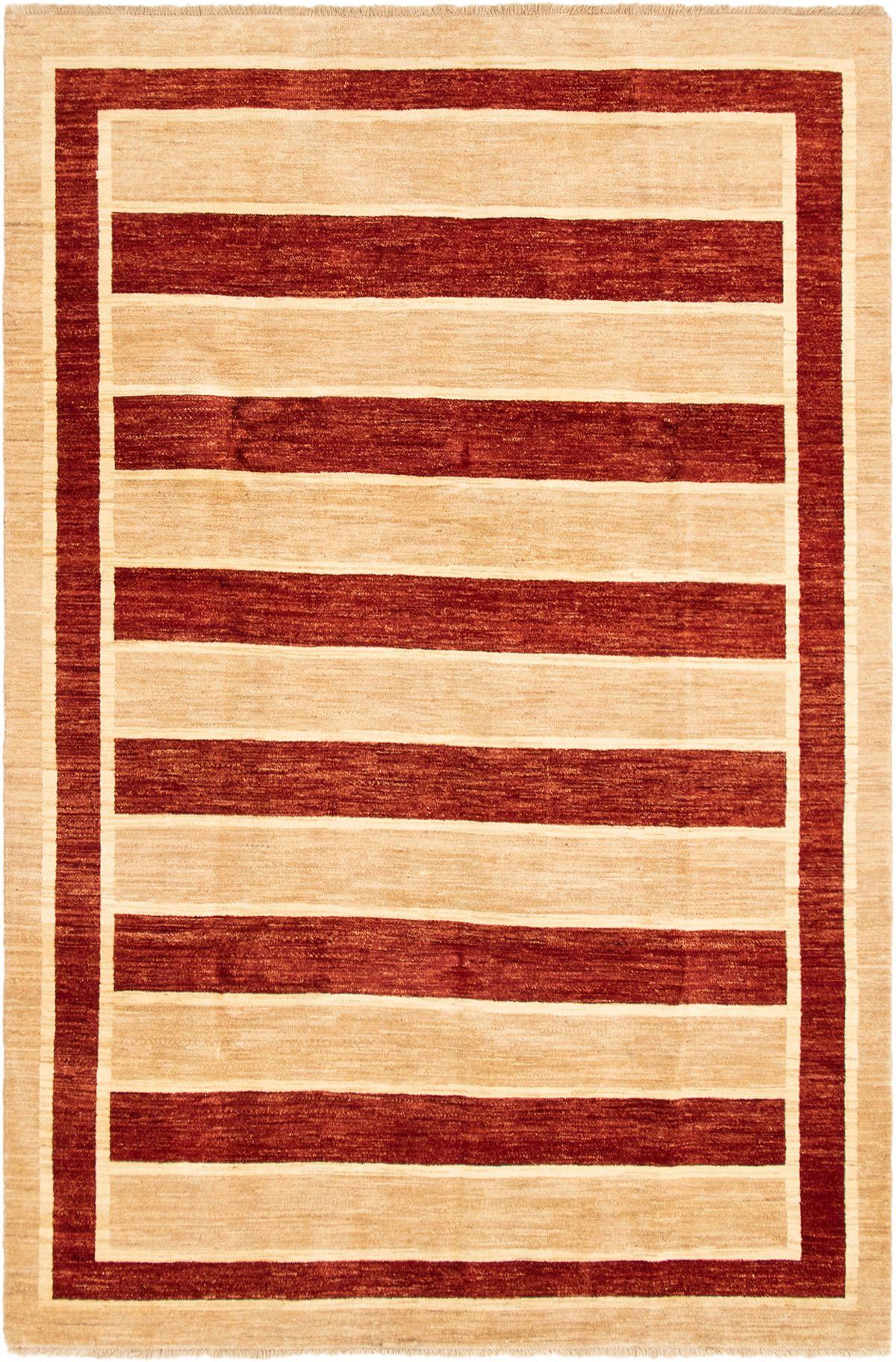 """Hand-knotted Finest Ziegler Chobi Beige, Dark Red Wool Rug 6'0"""" x 9'0"""" Size: 6'0"""" x 9'0"""""""