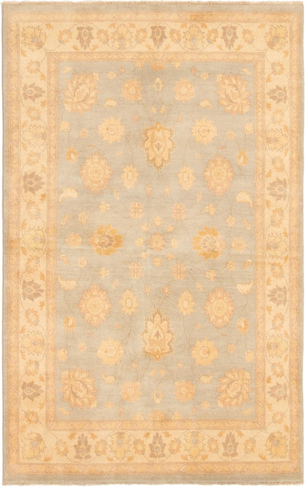 "Hand-knotted Peshawar Oushak Light Blue  Wool Rug 5'0"" x 8'1"" Size: 5'0"" x 8'1"""