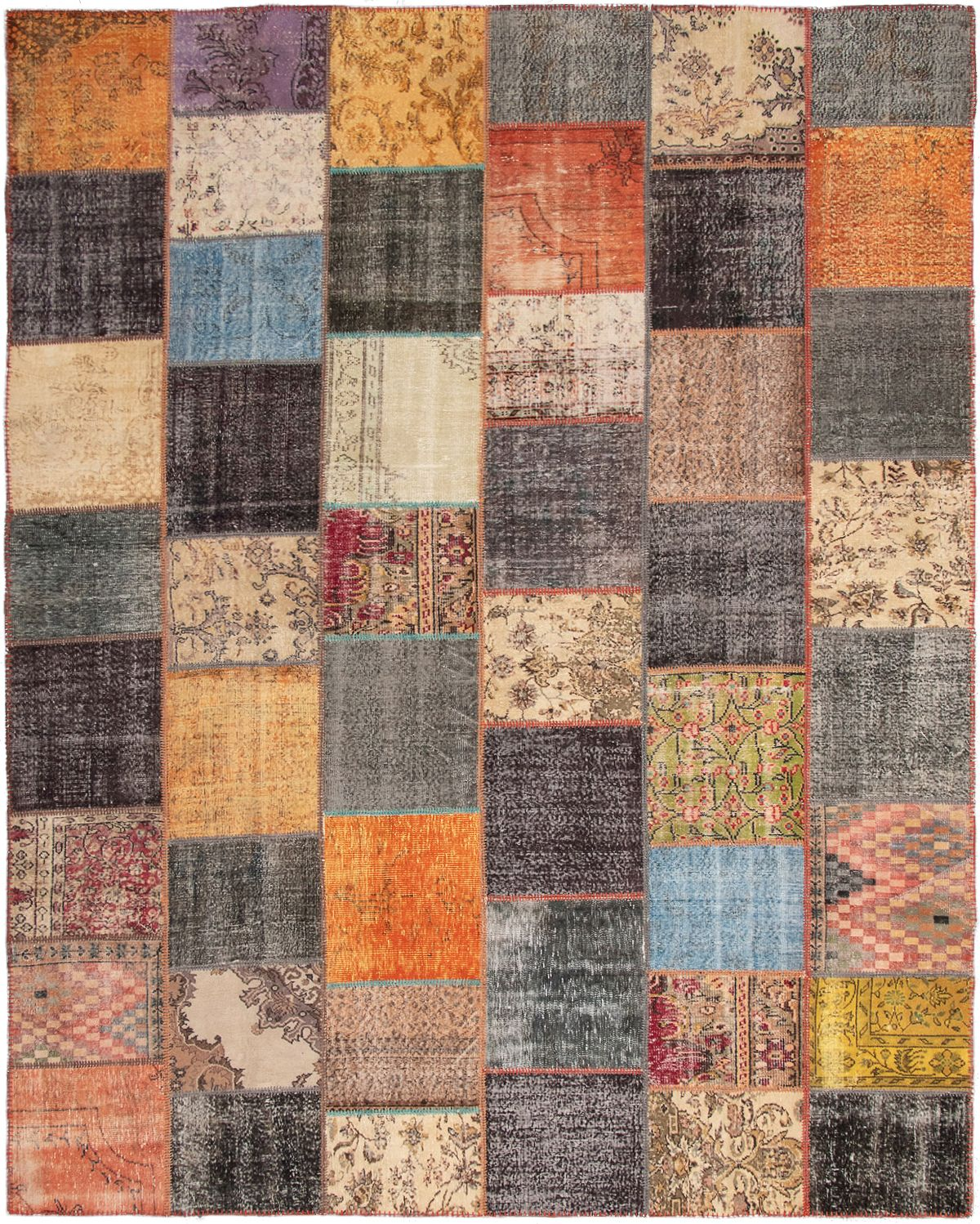 """Hand-knotted Color Transition Patch Black, Orange Wool Rug 11'2"""" x 14'1"""" Size: 11'2"""" x 14'1"""""""