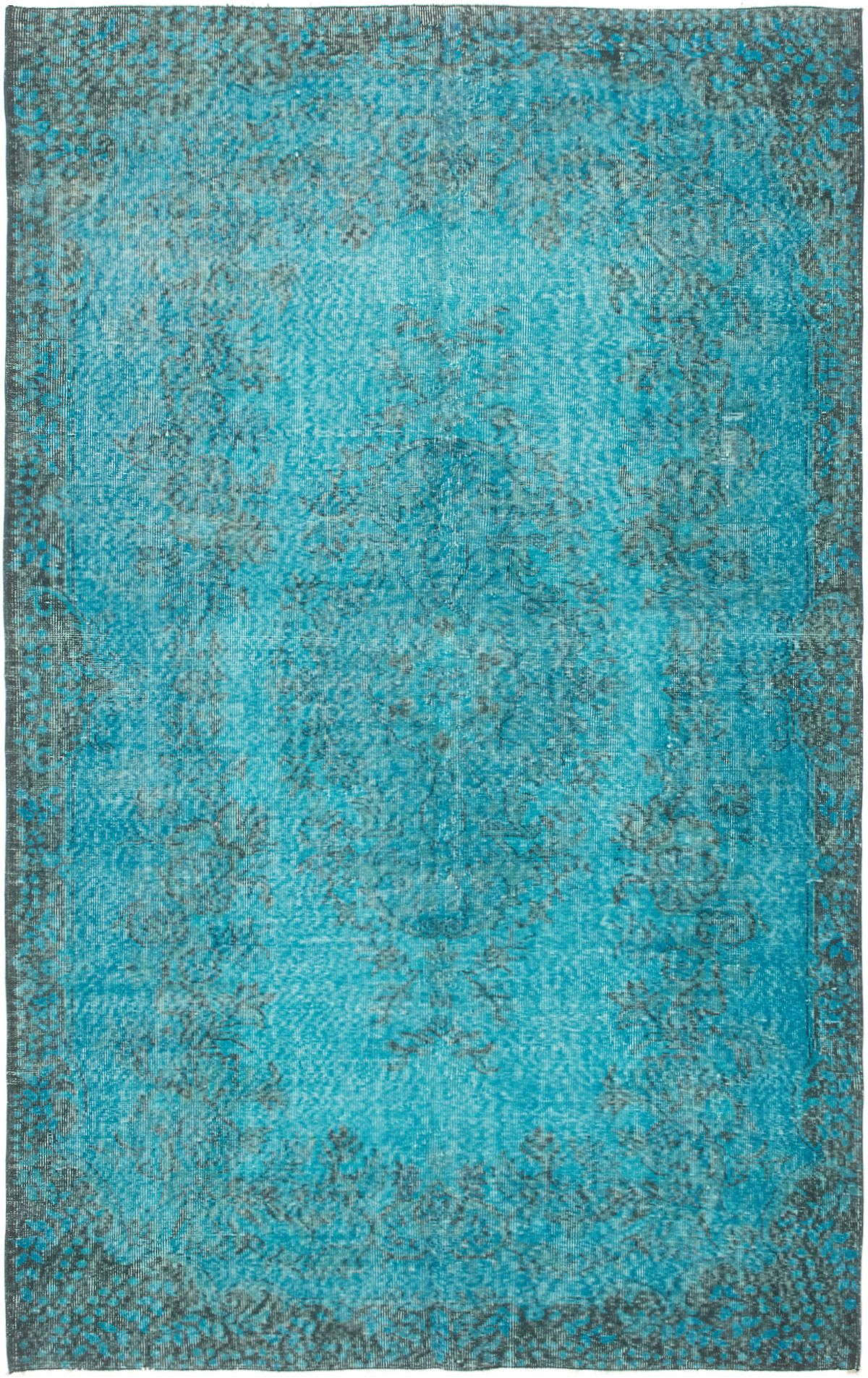 """Hand-knotted Color Transition Blue Wool Rug 5'7"""" x 8'10"""" Size: 5'7"""" x 8'10"""""""