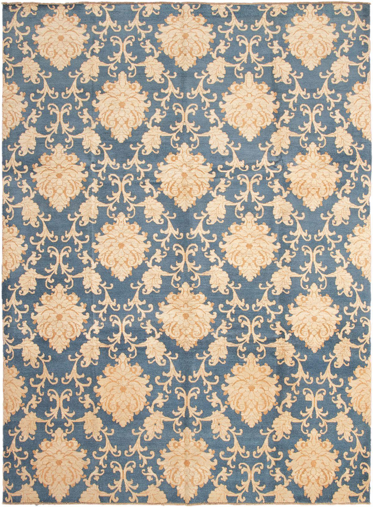 "Hand-knotted Peshawar Oushak Dark Blue Wool Rug 10'6"" x 14'2"" Size: 10'6"" x 14'2"""