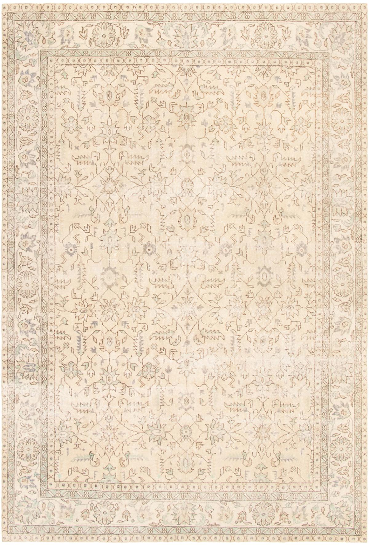 "Hand-knotted Antalya Vintage Beige Wool Rug 6'10"" x 10'3"" Size: 6'10"" x 10'3"""