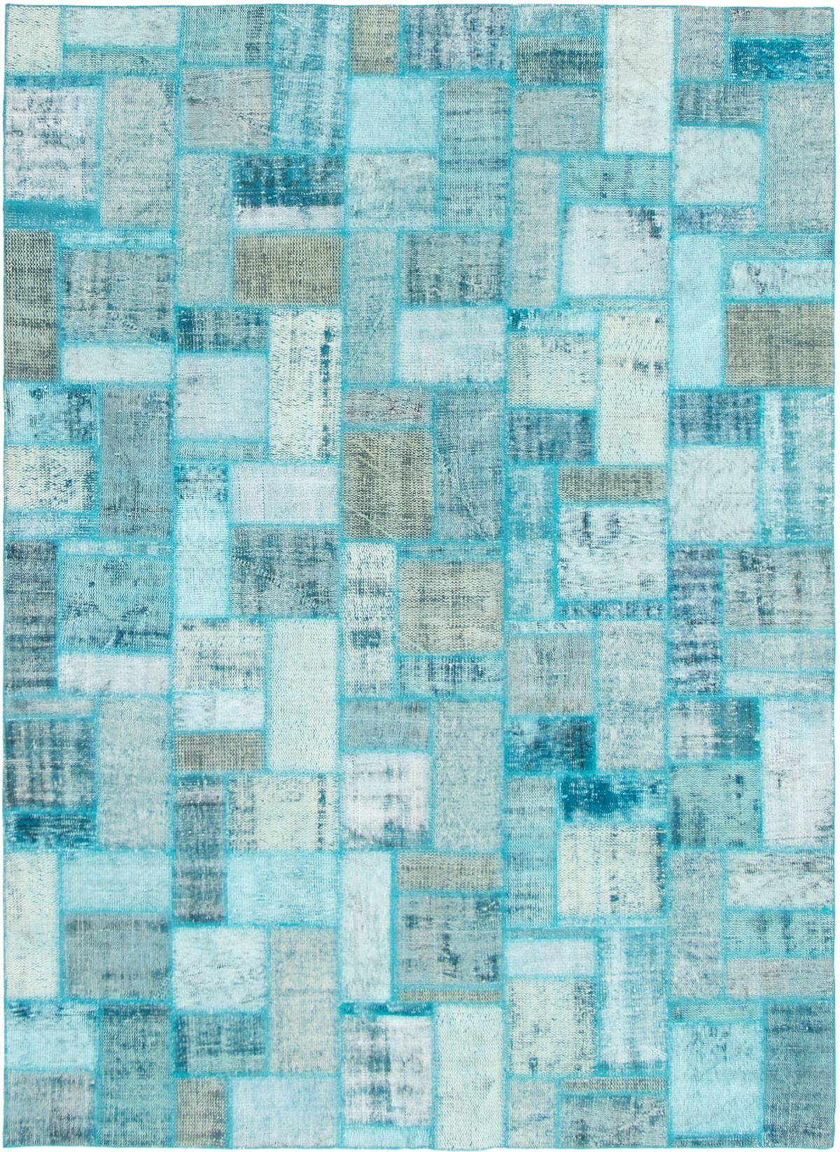 """Hand-knotted Color Transition Patch Light Blue  Wool Rug 7'0"""" x 9'9"""" Size: 7'0"""" x 9'9"""""""