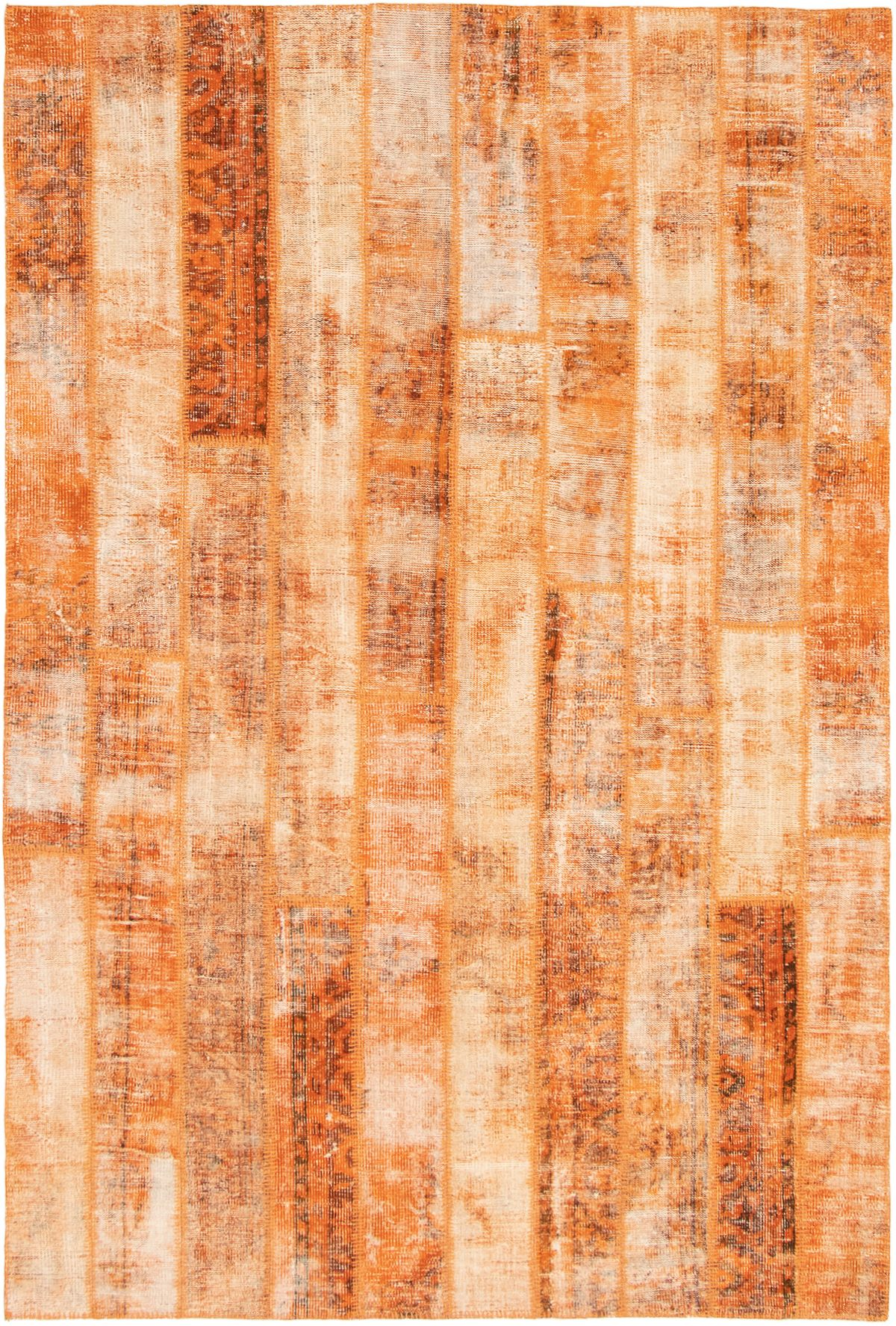 """Hand-knotted Color Transition Patch Orange Wool Rug 6'7"""" x 9'11"""" Size: 6'7"""" x 9'11"""""""