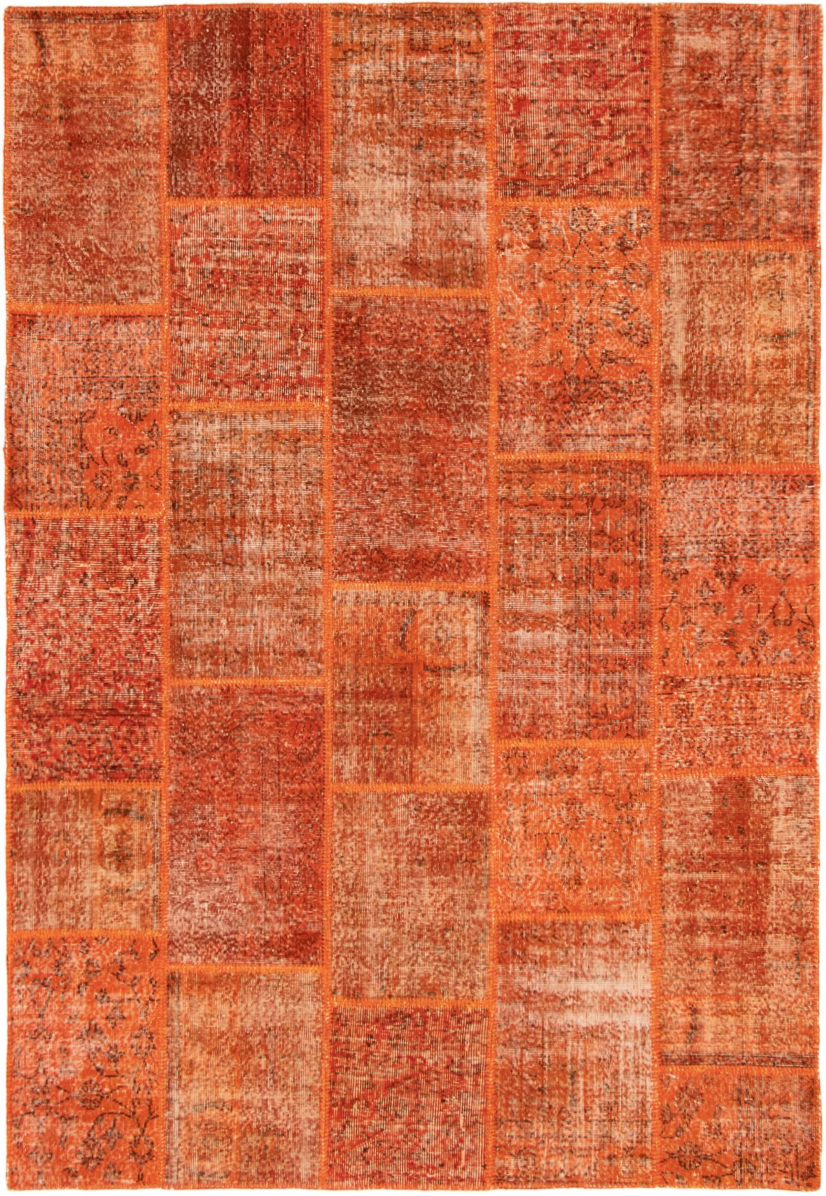 """Hand-knotted Color Transition Patch Burnt Orange Wool Rug 6'7"""" x 9'10"""" Size: 6'7"""" x 9'10"""""""