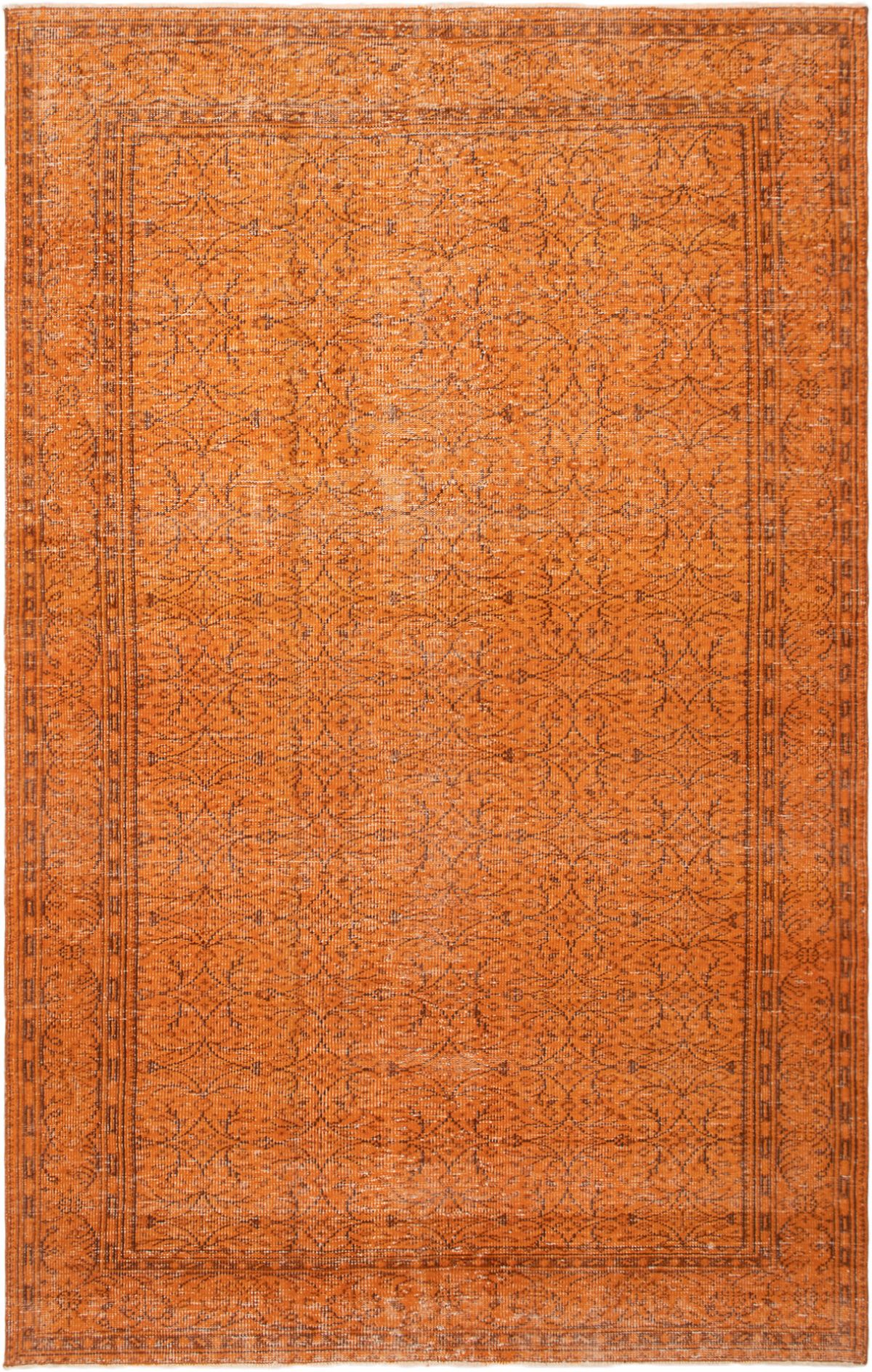 """Hand-knotted Color Transition Orange Wool Rug 6'2"""" x 9'7"""" Size: 6'2"""" x 9'7"""""""