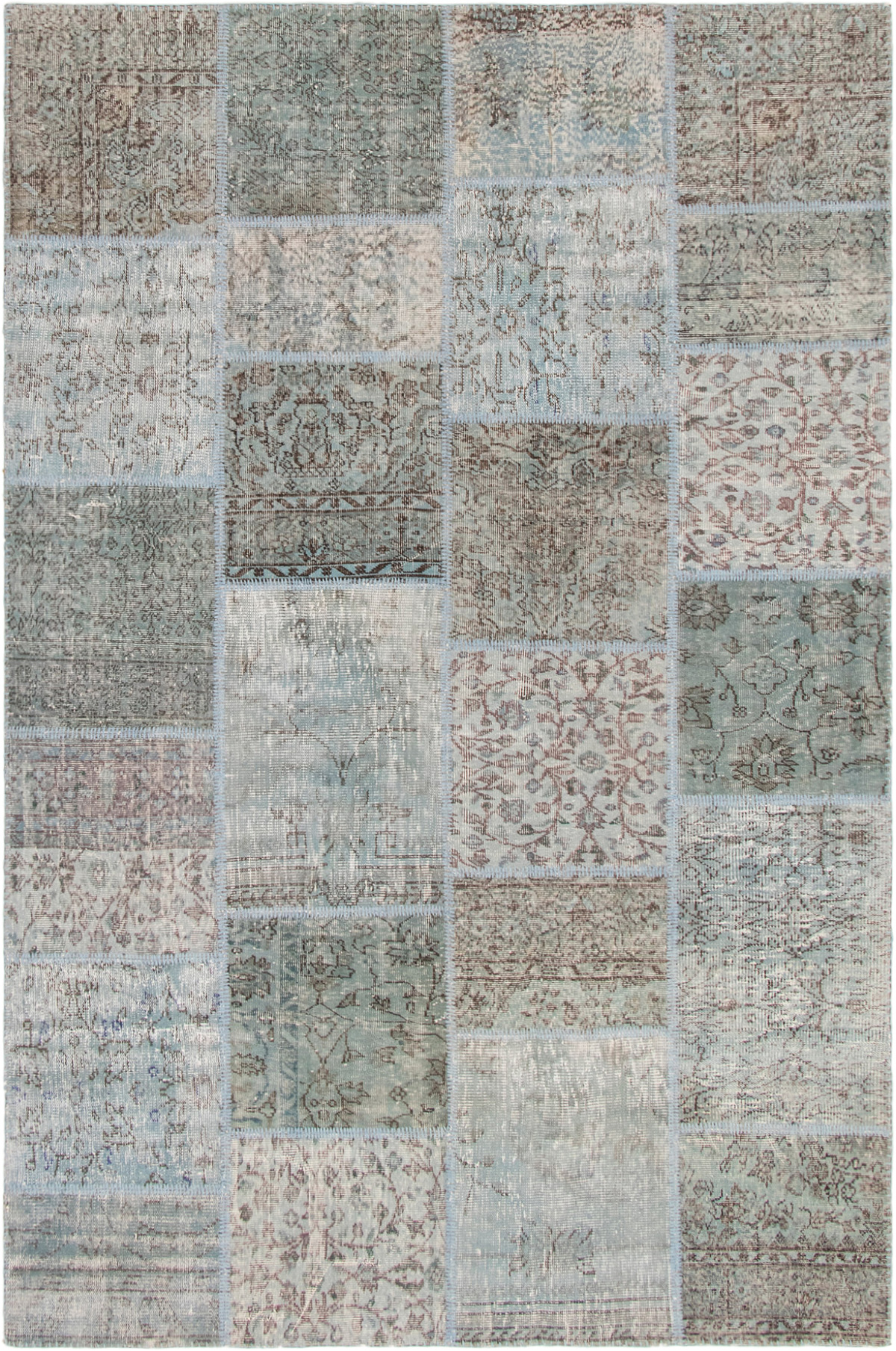 """Hand-knotted Color Transition Patch Light Blue  Wool Rug 6'7"""" x 9'11"""" Size: 6'7"""" x 9'11"""""""