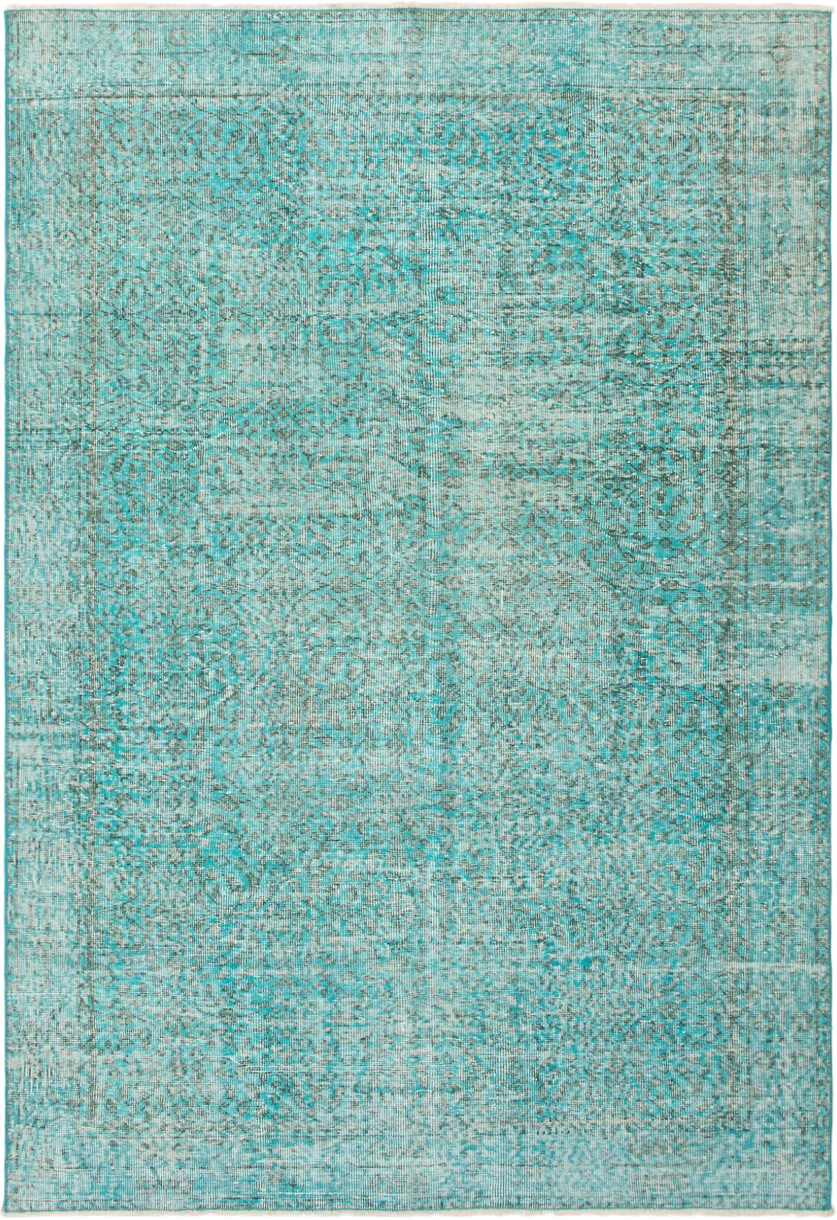 """Hand-knotted Color Transition Sky Blue Wool Rug 5'5"""" x 8'0"""" Size: 5'5"""" x 8'0"""""""