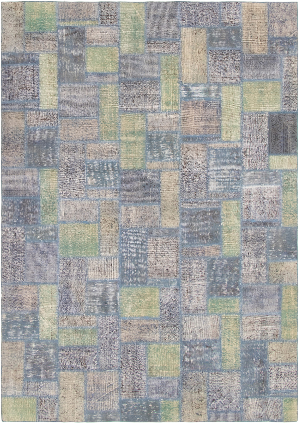 """Hand-knotted Color Transition Patch Light Green, Slate Blue Wool Rug 6'11"""" x 9'9"""" Size: 6'11"""" x 9'9"""""""