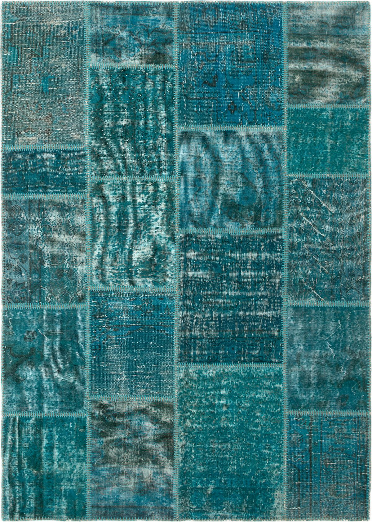"""Hand-knotted Color Transition Patch Turquoise Wool Rug 5'7"""" x 7'10""""  Size: 5'7"""" x 7'10"""""""