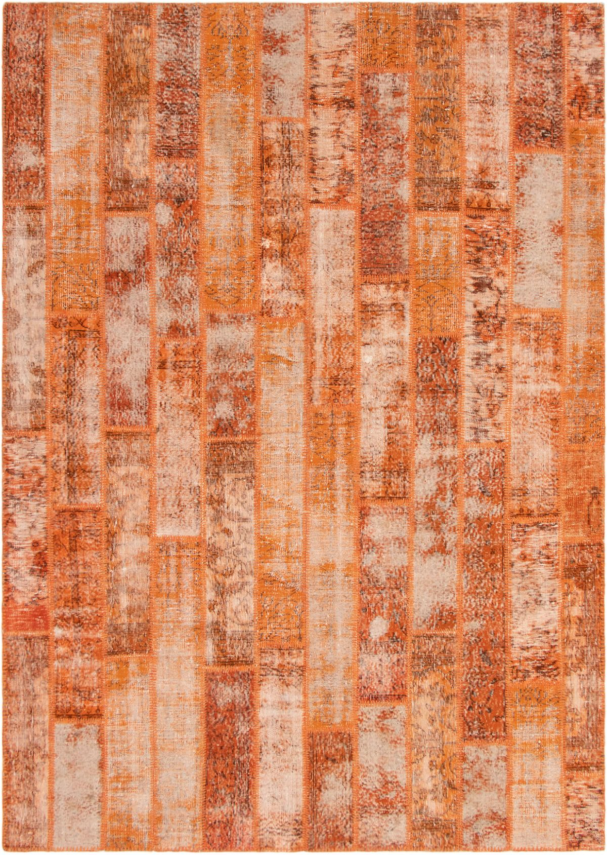 """Hand-knotted Color Transition Patch Orange Wool Rug 7'10"""" x 11'2"""" Size: 7'10"""" x 11'2"""""""