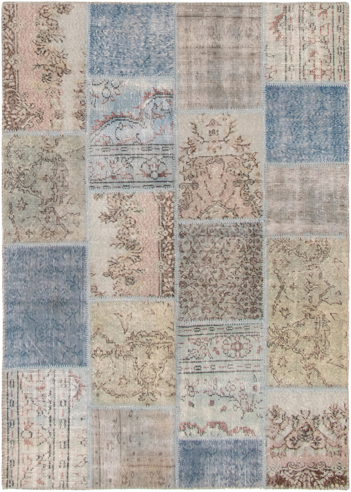 """Hand-knotted Color Transition Patch Khaki, Navy Blue Wool Rug 5'3"""" x 7'5"""" Size: 5'3"""" x 7'5"""""""
