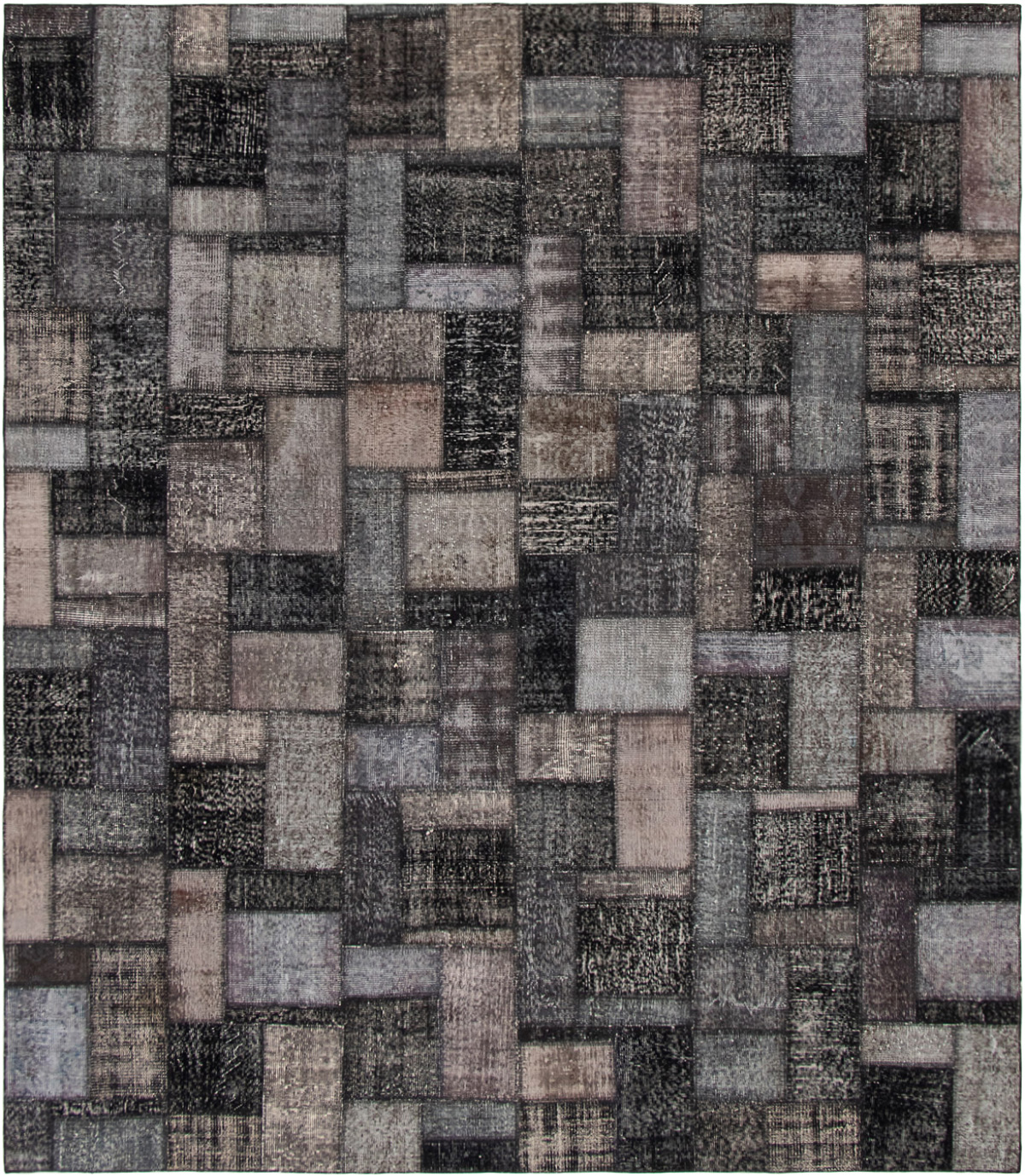 """Hand-knotted Color Transition Patch Black, Grey Wool Rug 8'6"""" x 9'9"""" Size: 8'6"""" x 9'9"""""""