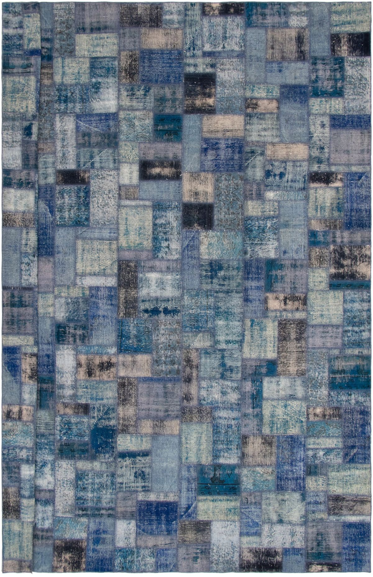 """Hand-knotted Color Transition Patch Dark Blue Wool Rug 10'0"""" x 13'1"""" Size: 10'0"""" x 13'1"""""""