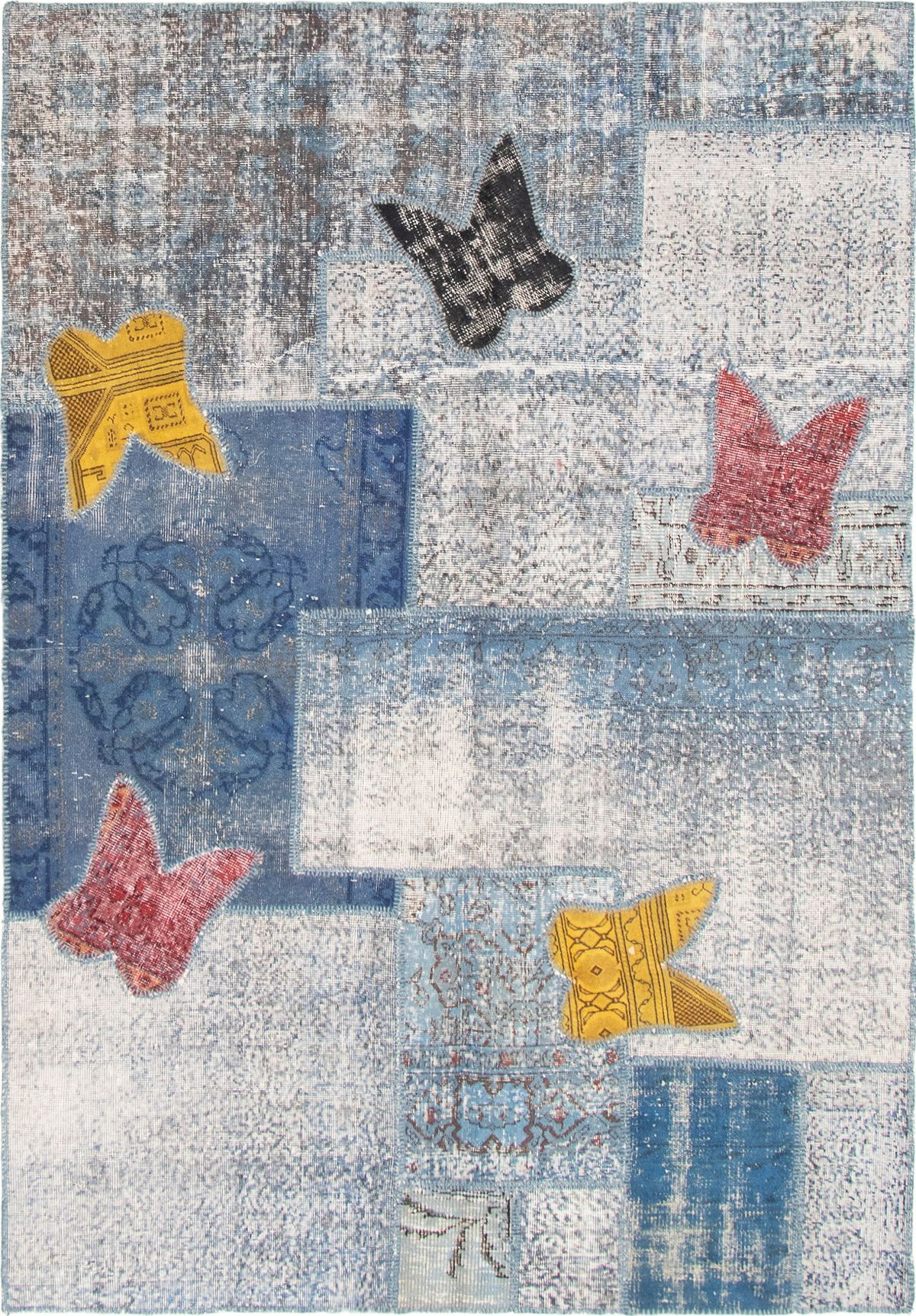 """Hand-knotted Color Transition Patch Blue Wool Rug 5'8"""" x 8'2"""" Size: 5'8"""" x 8'2"""""""