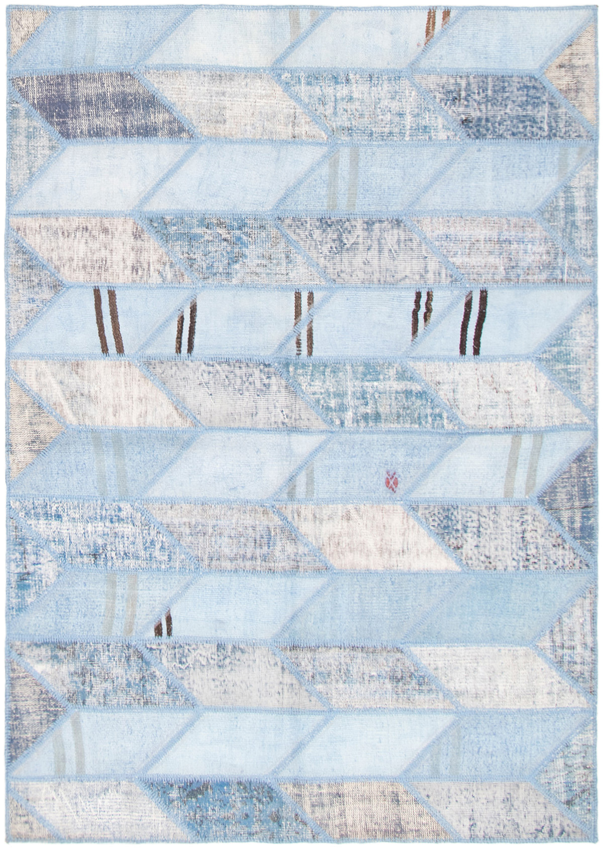 """Hand-knotted Color Transition Patch Light Blue  Wool Rug 5'5"""" x 7'7"""" Size: 5'5"""" x 7'7"""""""