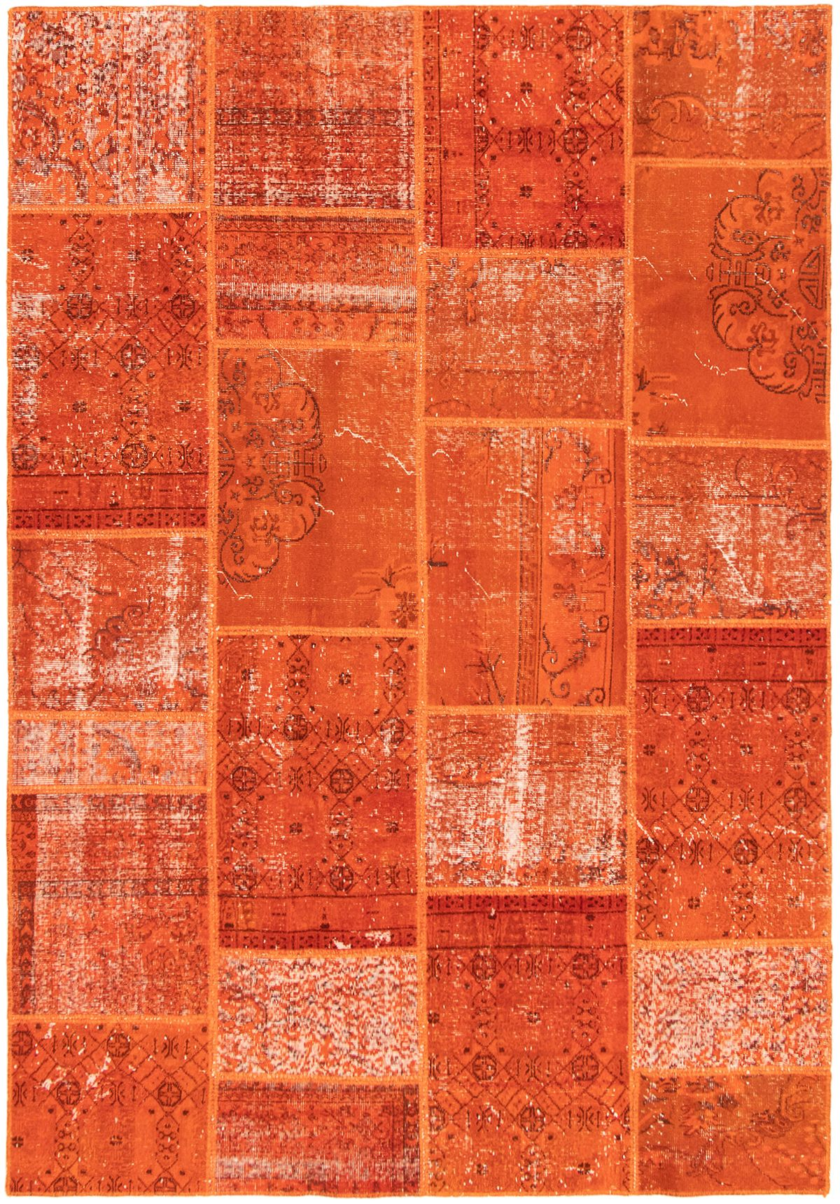 """Hand-knotted Color Transition Patch Burnt Orange Wool Rug 6'10"""" x 9'10"""" Size: 6'10"""" x 9'10"""""""
