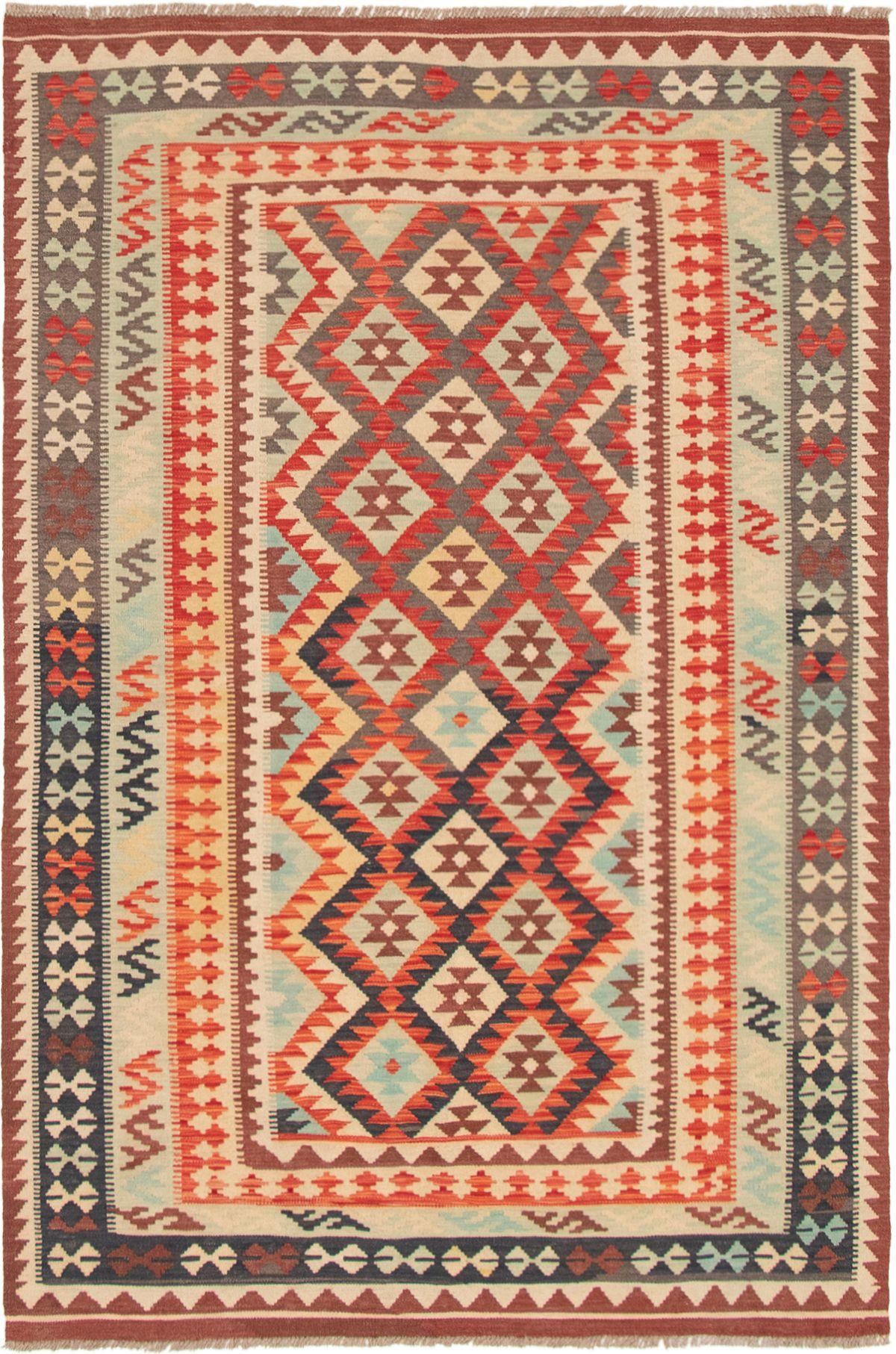 "Hand woven Sivas Light Blue , Red Wool Kilim 5'7"" x 8'2"" Size: 5'7"" x 8'2"""