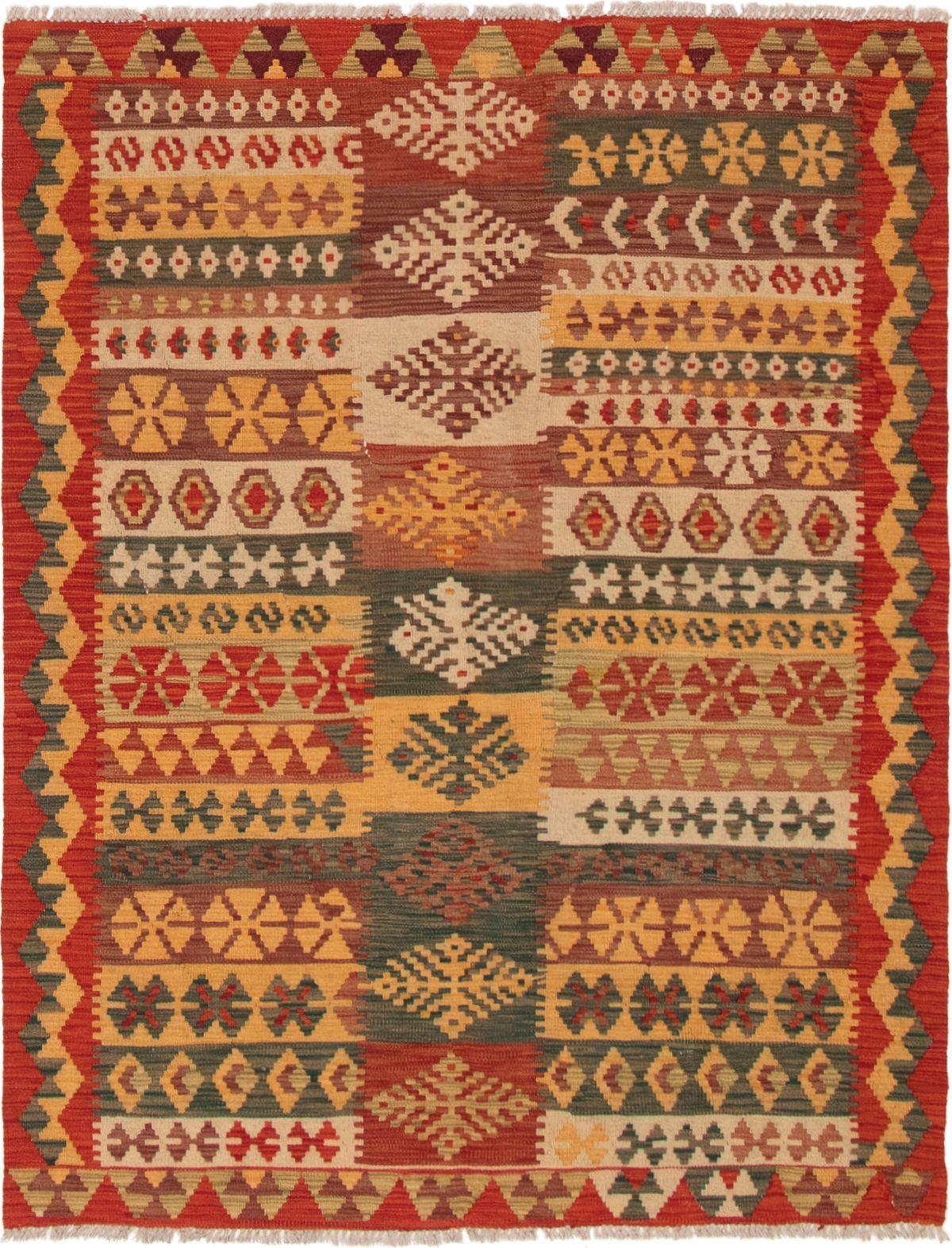 "Hand woven Istanbul Yama FW Light Orange, Red Wool Kilim 5'1"" x 6'8"" Size: 5'1"" x 6'8"""