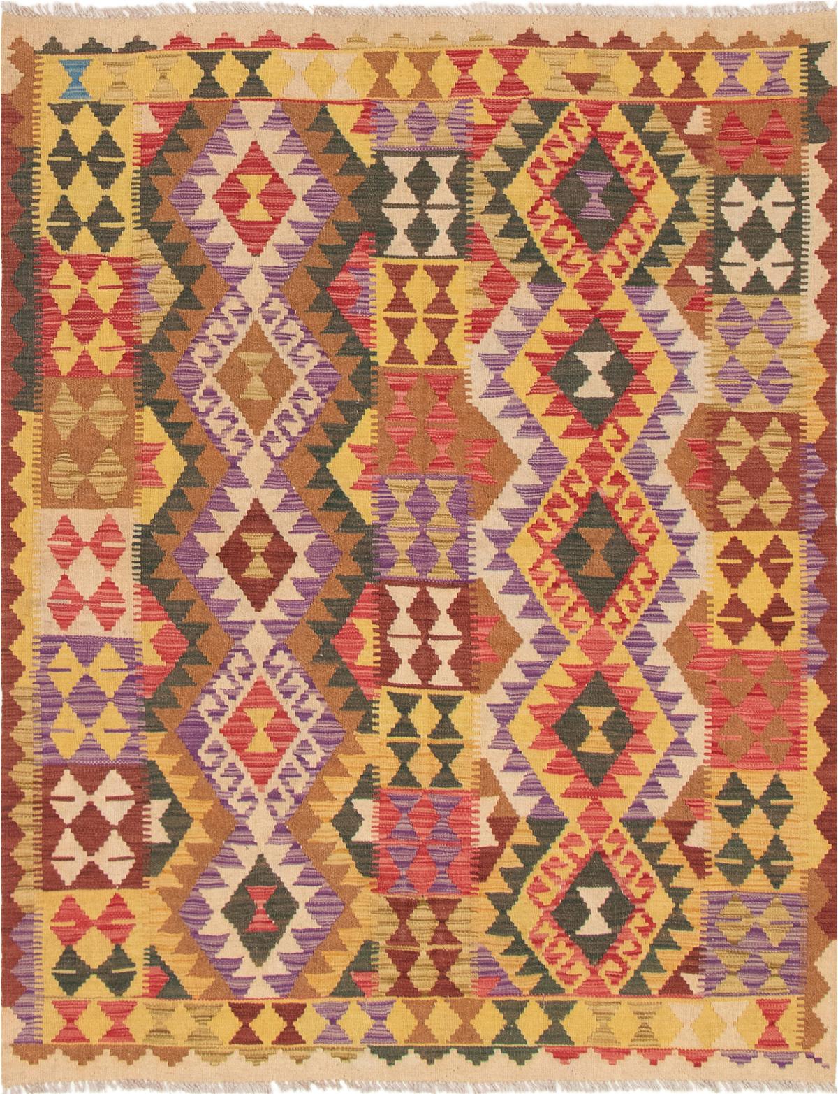 "Hand woven Hereke FW Light Gold, Red Wool Kilim 5'2"" x 6'7"" Size: 5'2"" x 6'7"""