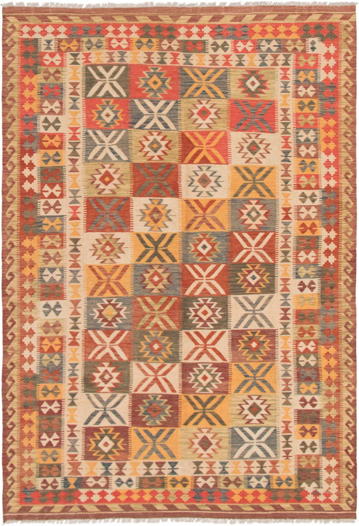 "Hand woven Istanbul Yama FW Dark Red, Light Orange Wool Kilim 6'9"" x 9'10"" Size: 6'9"" x 9'10"""