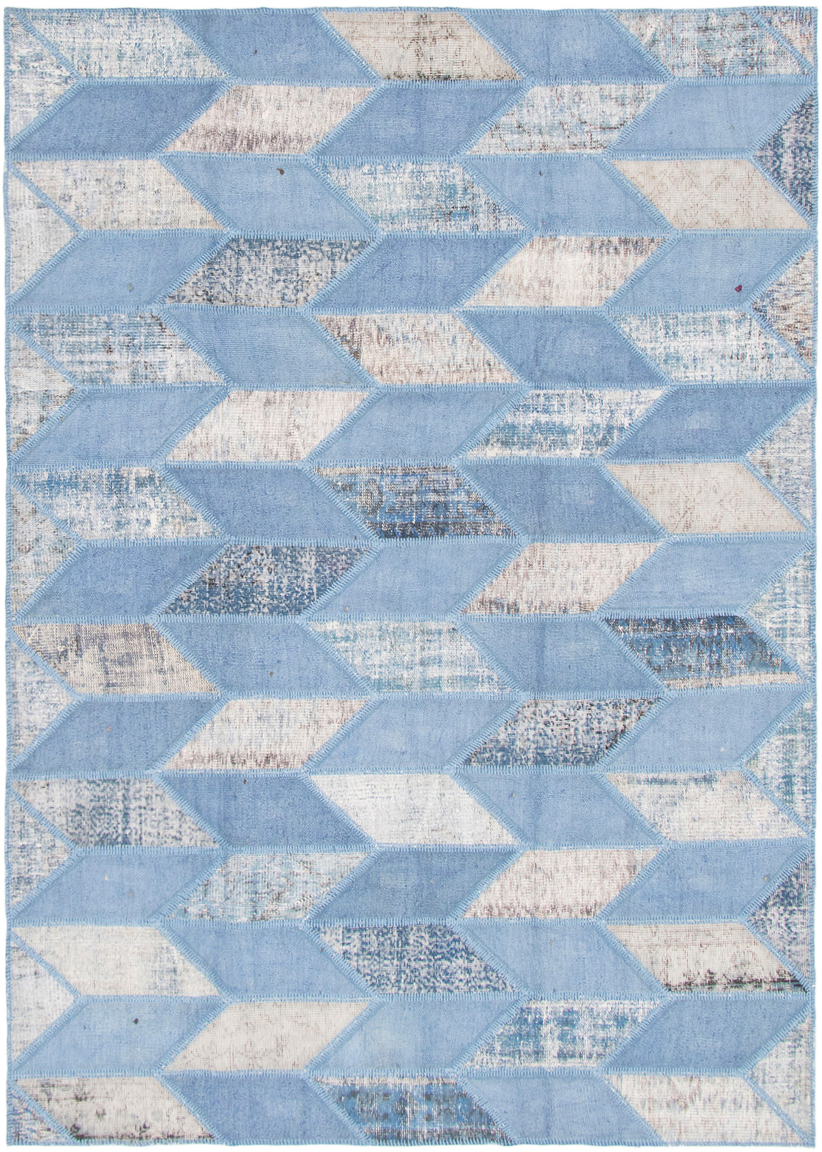 """Hand-knotted Color Transition Patch Slate Blue Wool Rug 6'8"""" x 9'6"""" Size: 6'8"""" x 9'6"""""""