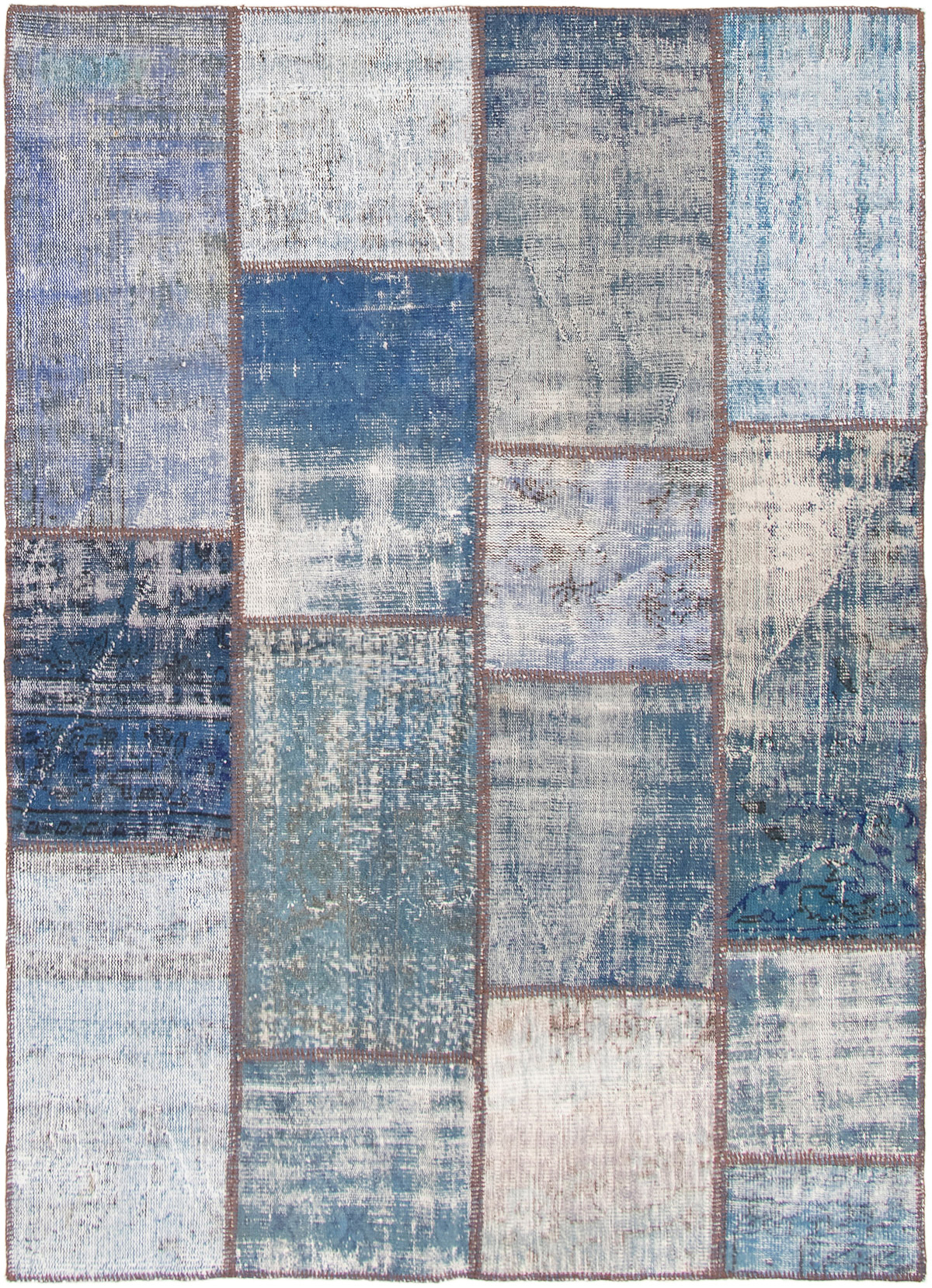 """Hand-knotted Color Transition Patch Blue Wool Rug 5'8"""" x 7'10""""  Size: 5'8"""" x 7'10"""""""