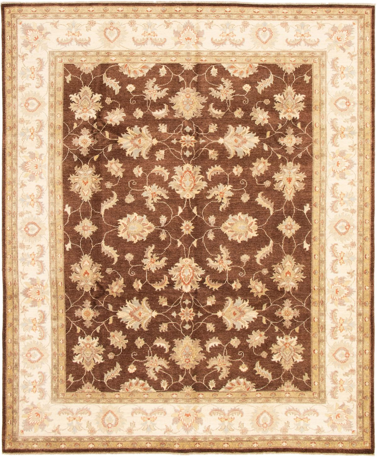 "Hand-knotted Peshawar Oushak Dark Brown Wool Rug 8'1"" x 9'8"" Size: 8'1"" x 9'8"""