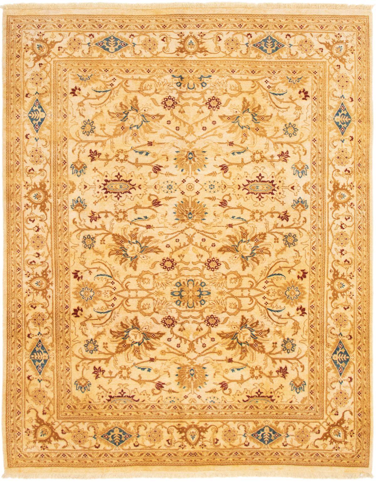 """Hand-knotted Peshawar Oushak Ivory Wool Rug 7'10"""" x 9'10"""" Size: 7'10"""" x 9'10"""""""