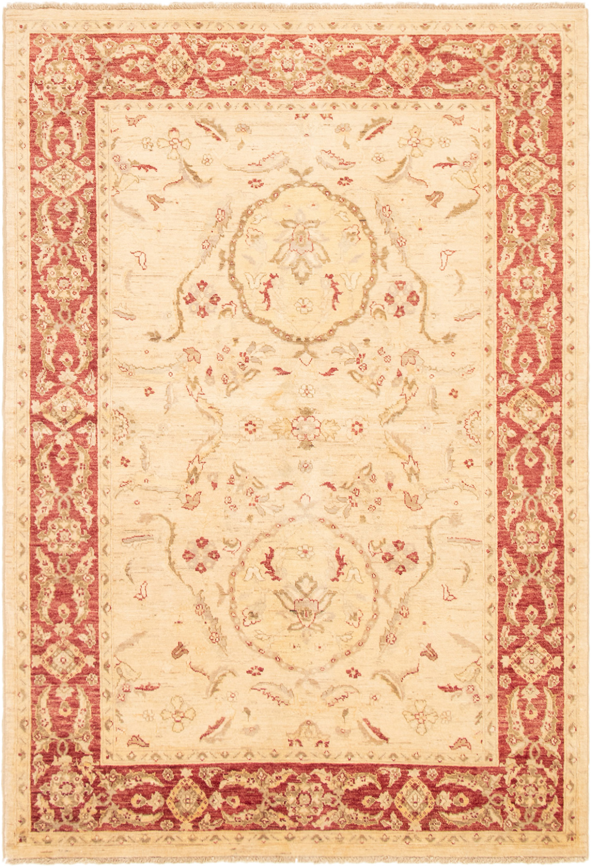 """Hand-knotted Chobi Finest Ivory Wool Rug 5'10"""" x 8'8"""" Size: 5'10"""" x 8'8"""""""