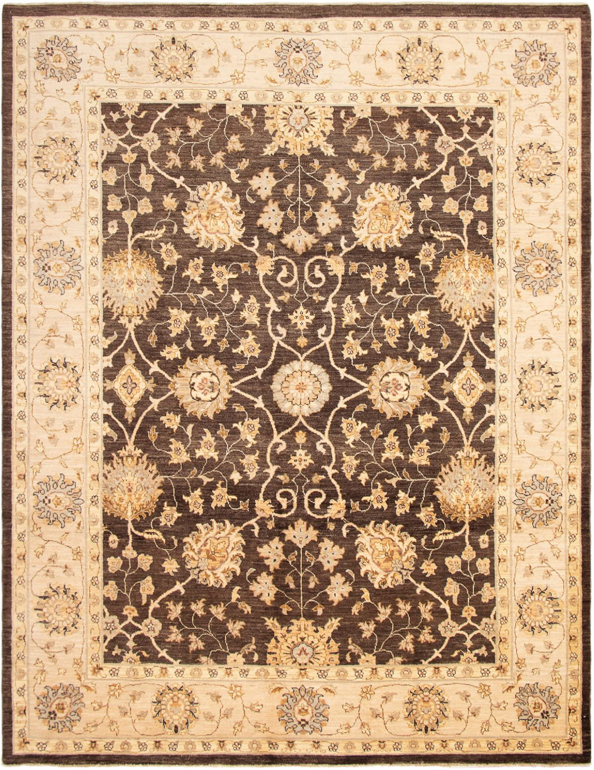 "Hand-knotted Chobi Twisted Dark Brown Wool Rug 9'1"" x 11'10""  Size: 9'1"" x 11'10"""
