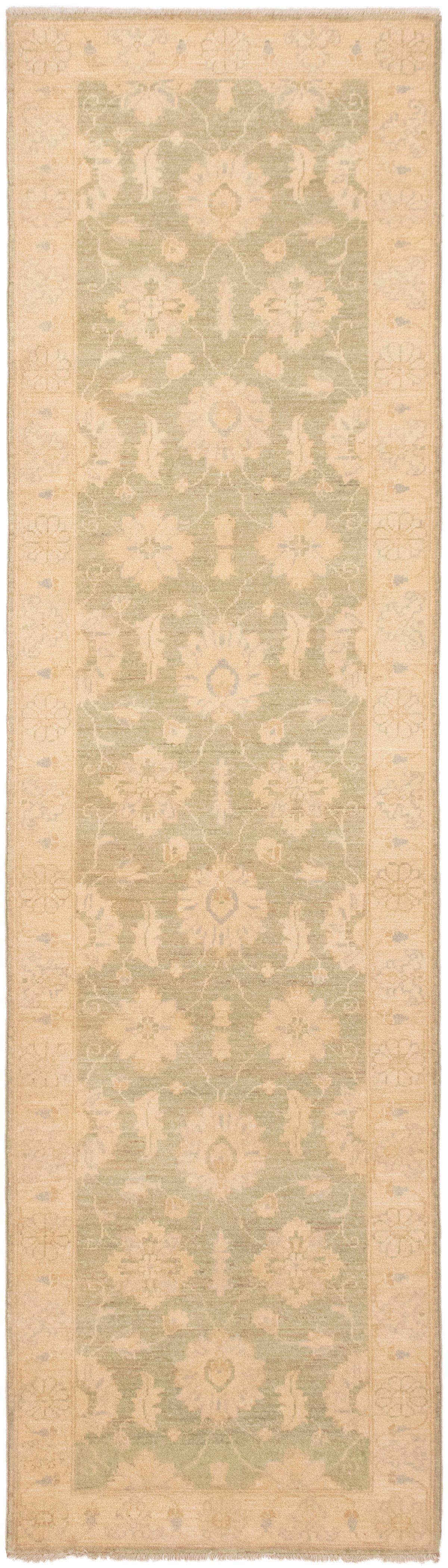"Hand-knotted Peshawar Oushak Light Gold Wool Rug 2'9"" x 9'10"" Size: 2'9"" x 9'10"""