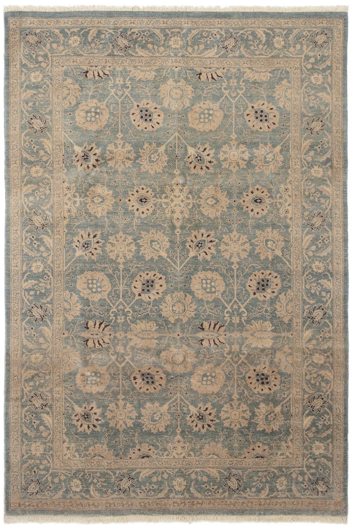 "Hand-knotted Peshawar Oushak Light Blue  Wool Rug 6'1"" x 9'0"" Size: 6'1"" x 9'0"""