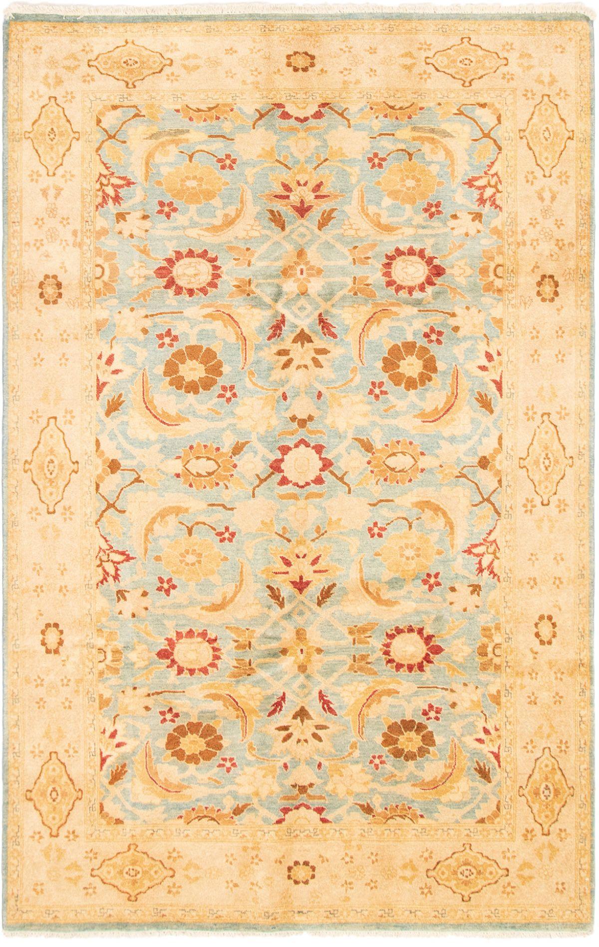 "Hand-knotted Peshawar Oushak Light Blue  Wool Rug 6'3"" x 9'7"" Size: 6'3"" x 9'7"""