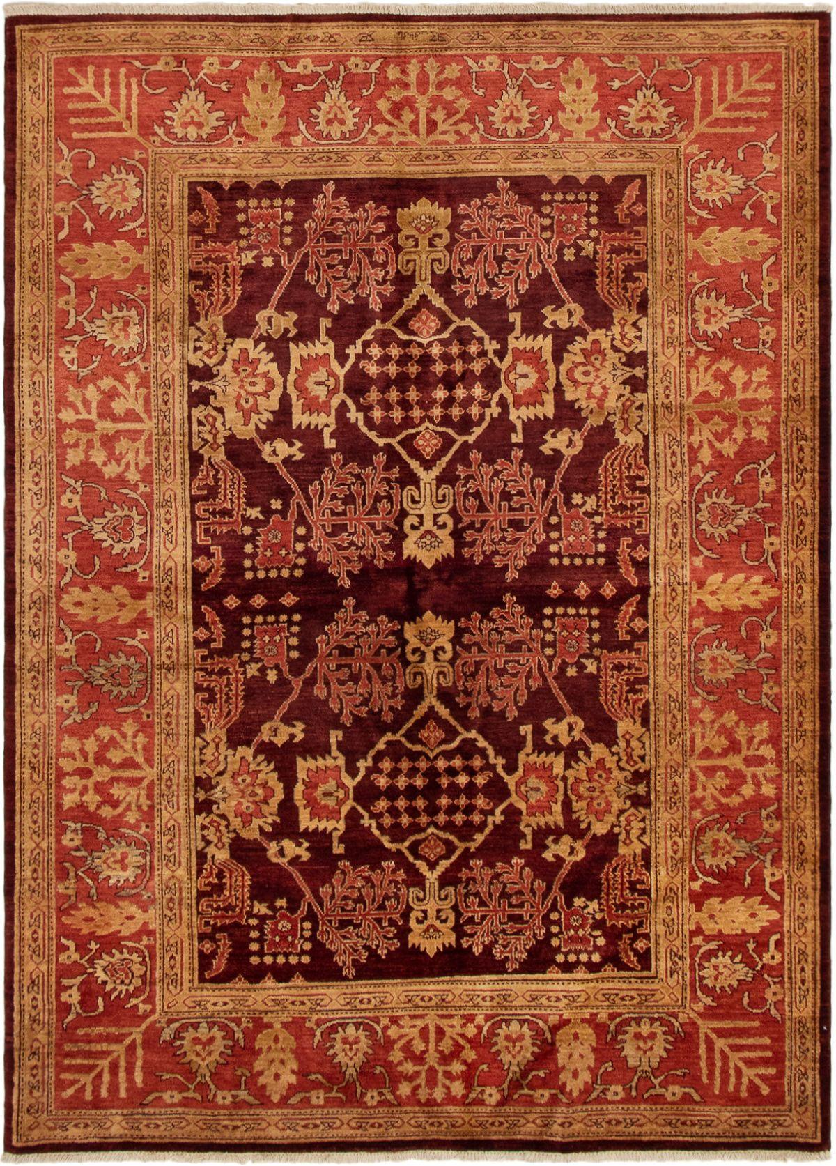 "Hand-knotted Chobi Finest Dark Burgundy Wool Rug 6'3"" x 8'6"" Size: 6'3"" x 8'6"""