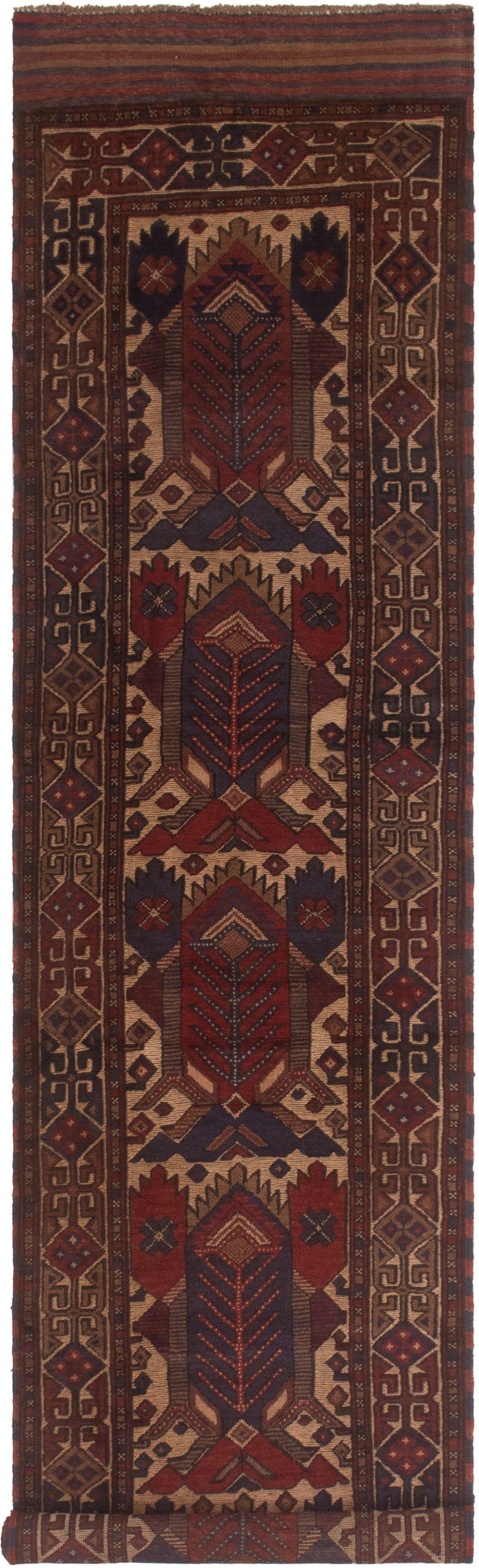"""Hand-knotted Tajik Caucasian Dark Blue, Red Wool Rug 2'8"""" x 12'2"""" Size: 2'8"""" x 12'2"""""""