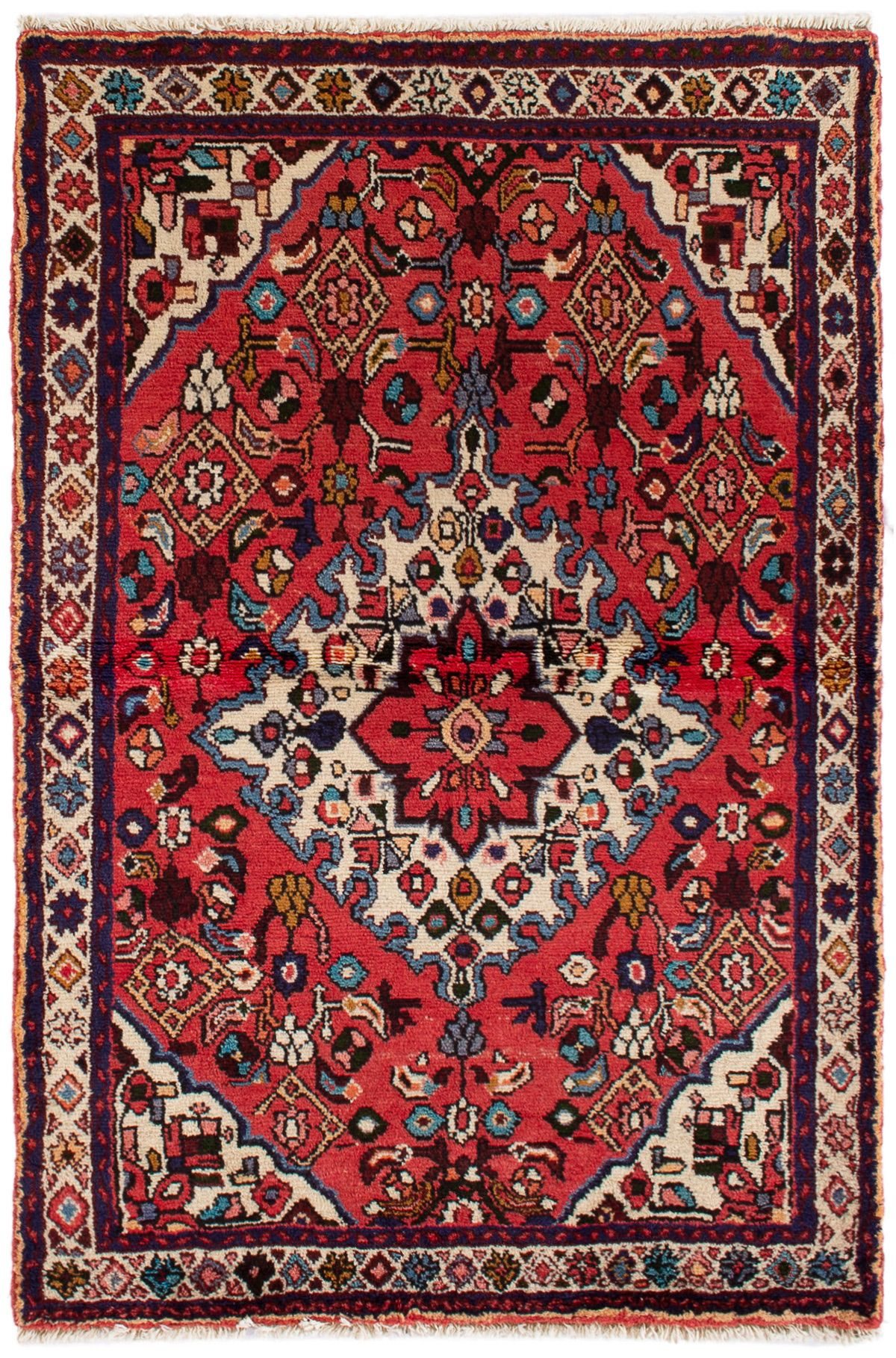 "Hand-knotted Hamadan  Wool Rug 3'6"" x 5'5"" Size: 3'6"" x 5'5"""