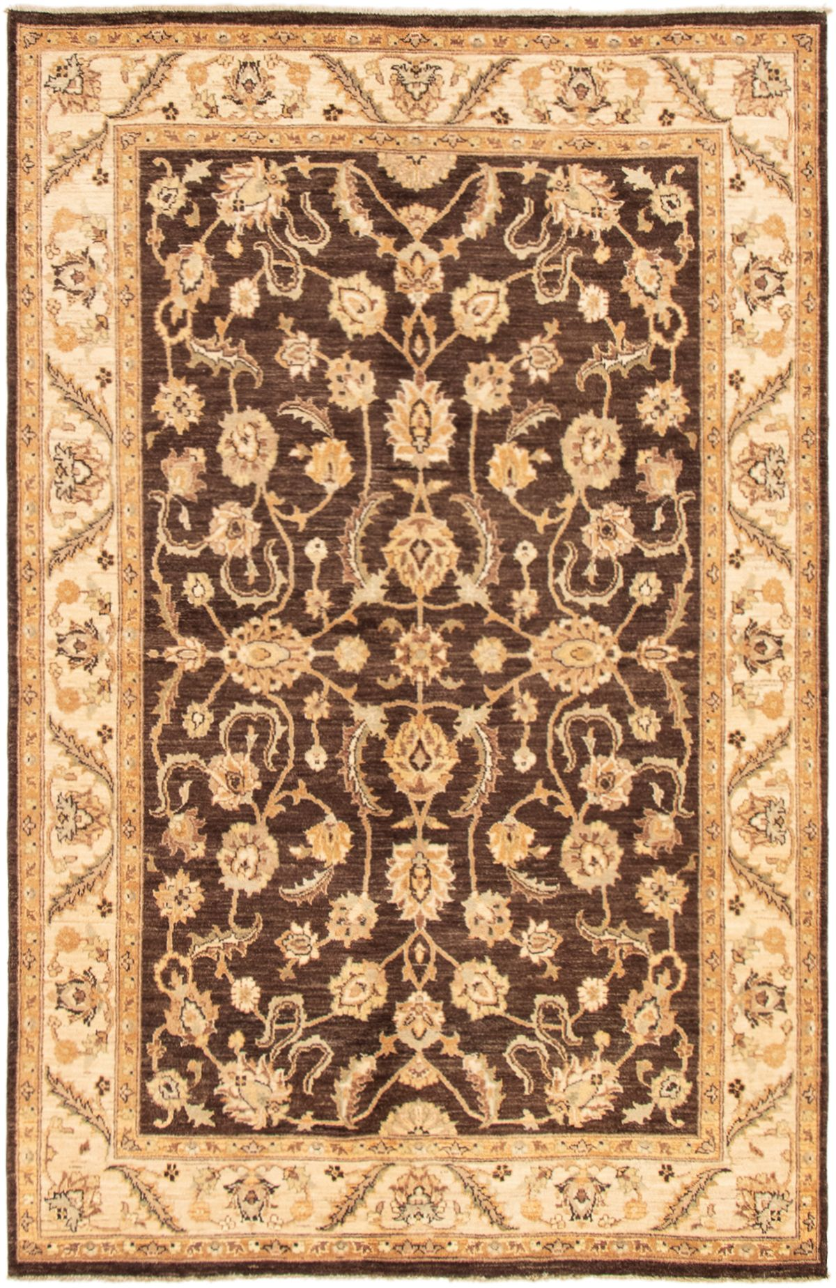"Hand-knotted Chobi Finest Dark Brown Wool Rug 6'1"" x 9'4"" Product Image"