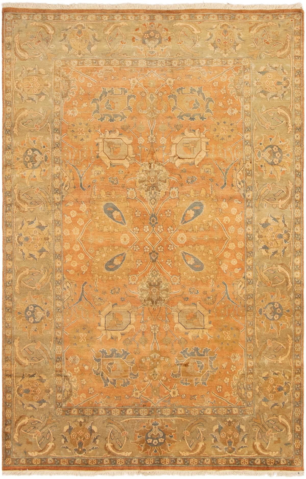 """Hand-knotted Peshawar Oushak Orange Wool Rug 5'10"""" x 9'2"""" Size: 5'10"""" x 9'2"""""""